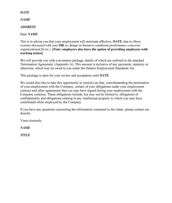 Sample Letter Of Termination Employment Contract By Employee