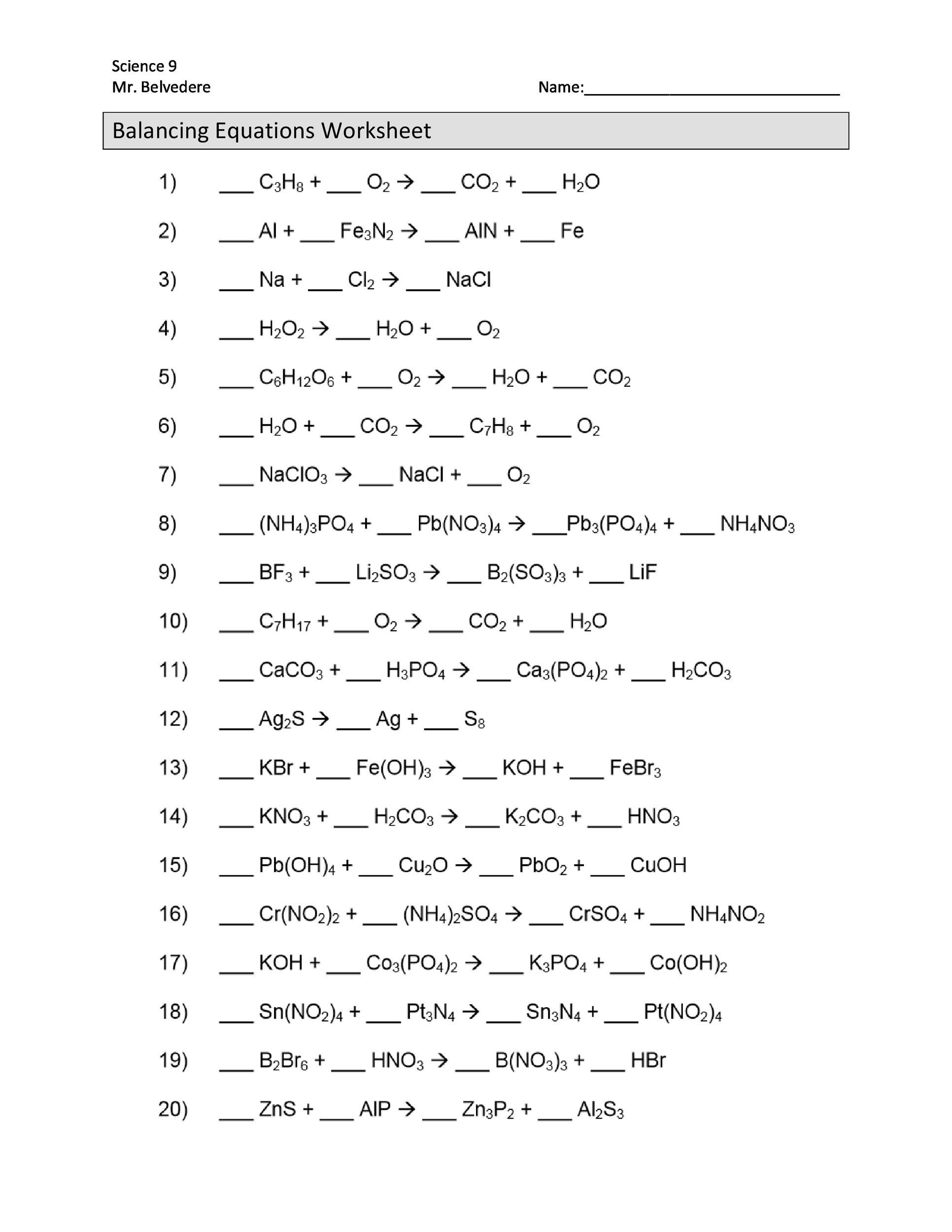 Balancing Chemical Equations Worksheet Grade 12