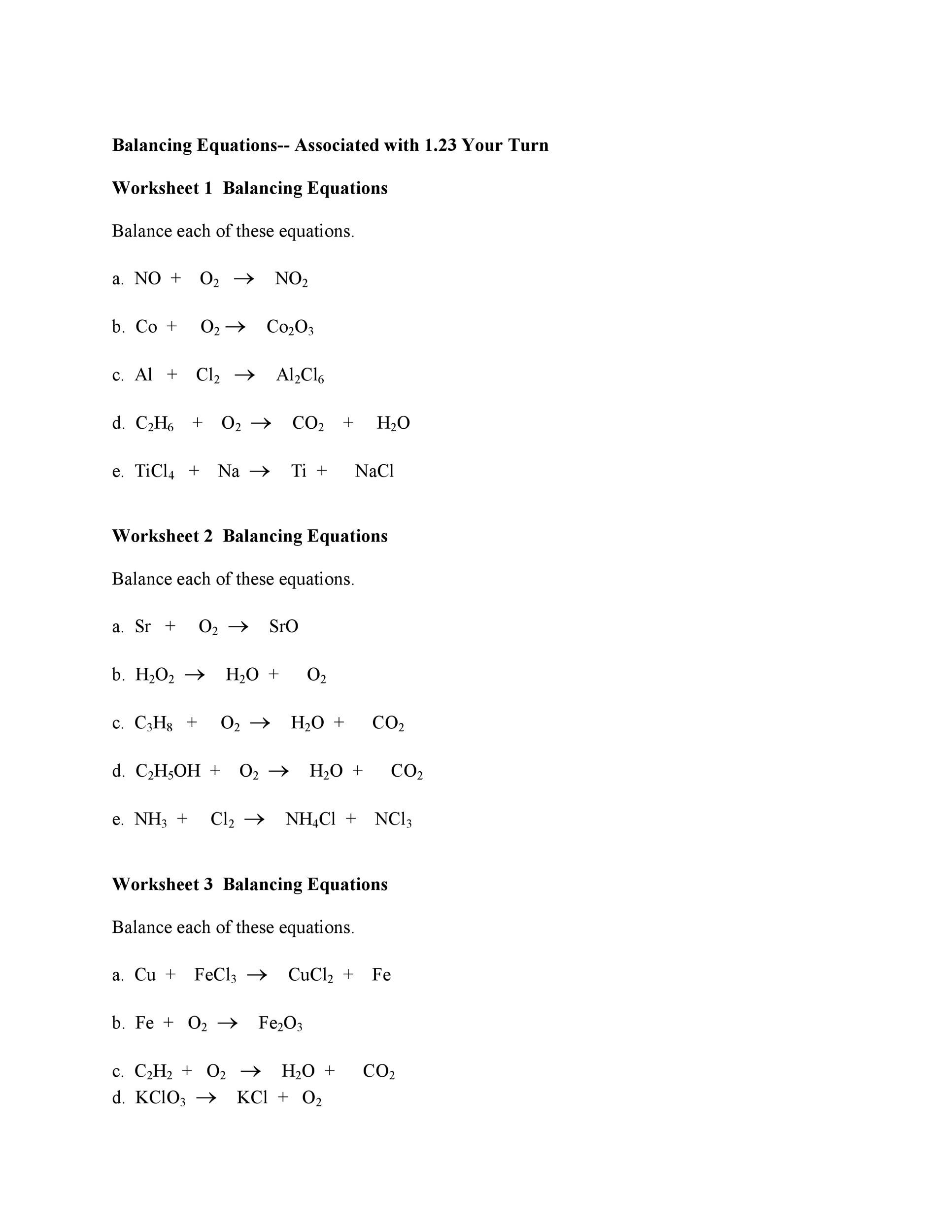Balancing Equations Practice Worksheet Class 7