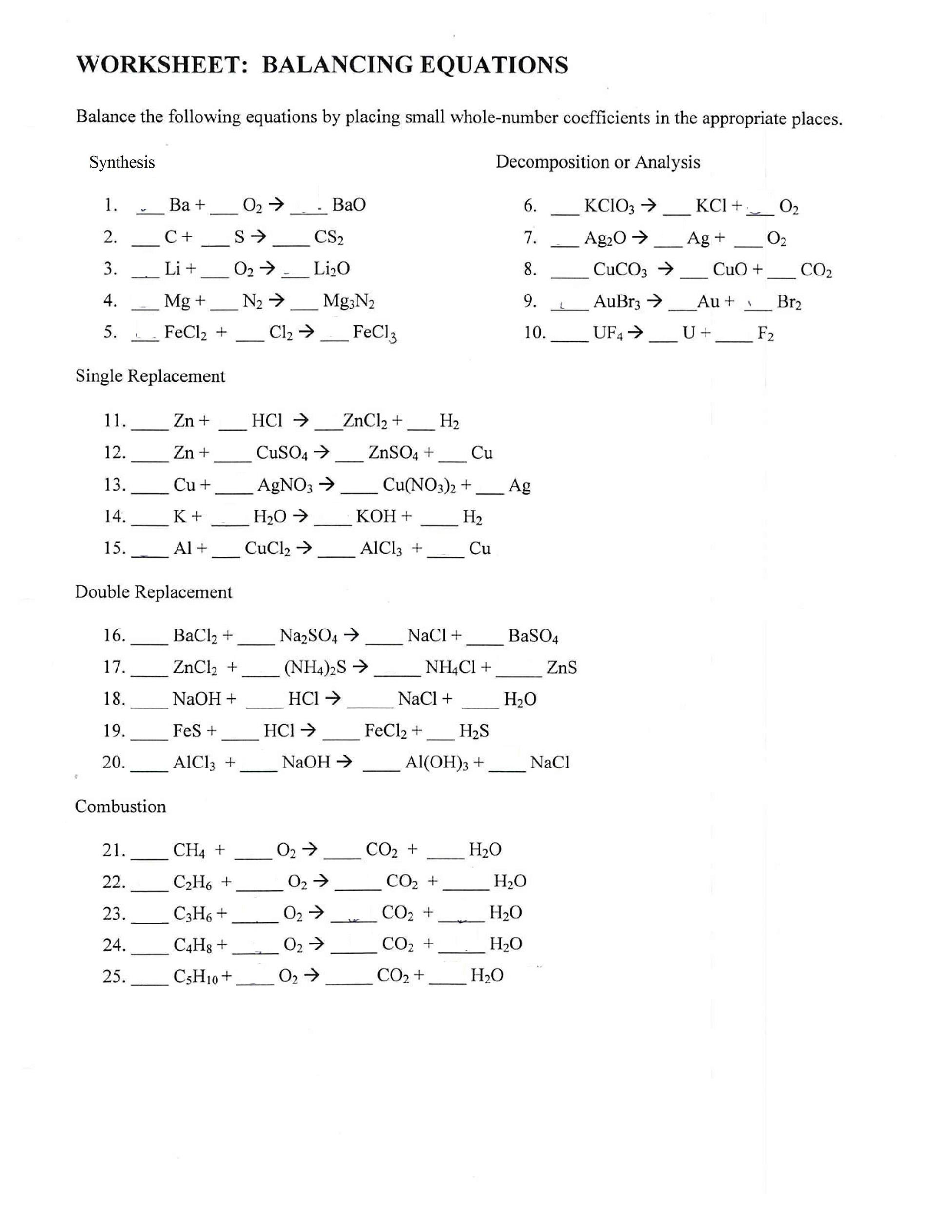 30 Balancing Equations Practice Worksheet Answers