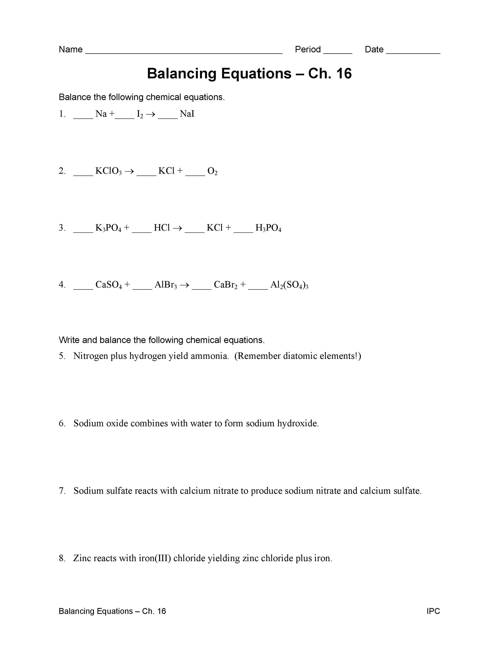 Balance Chemical Equations Worksheet Step By Step