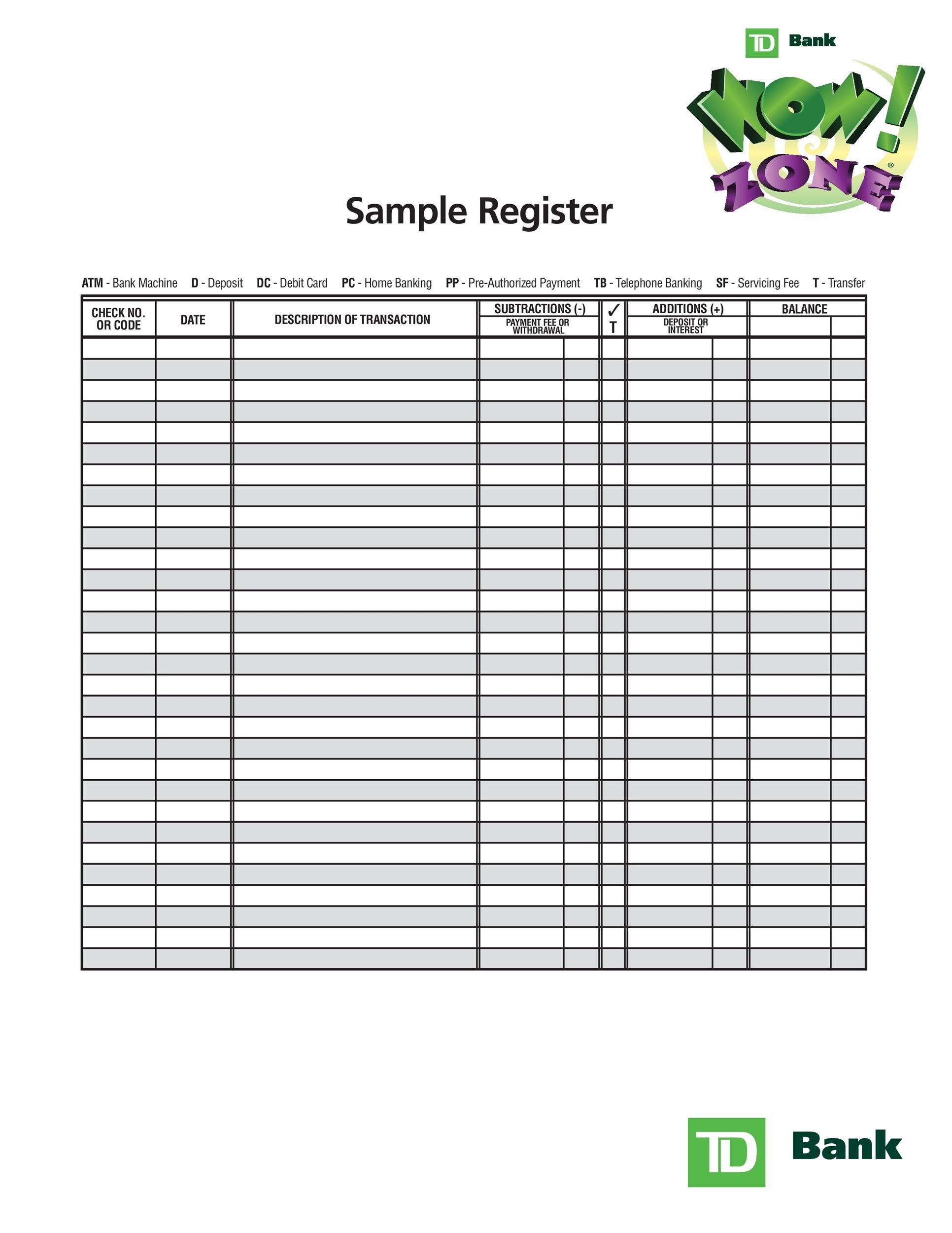 39 Checkbook Register Templates 100 Free Printable