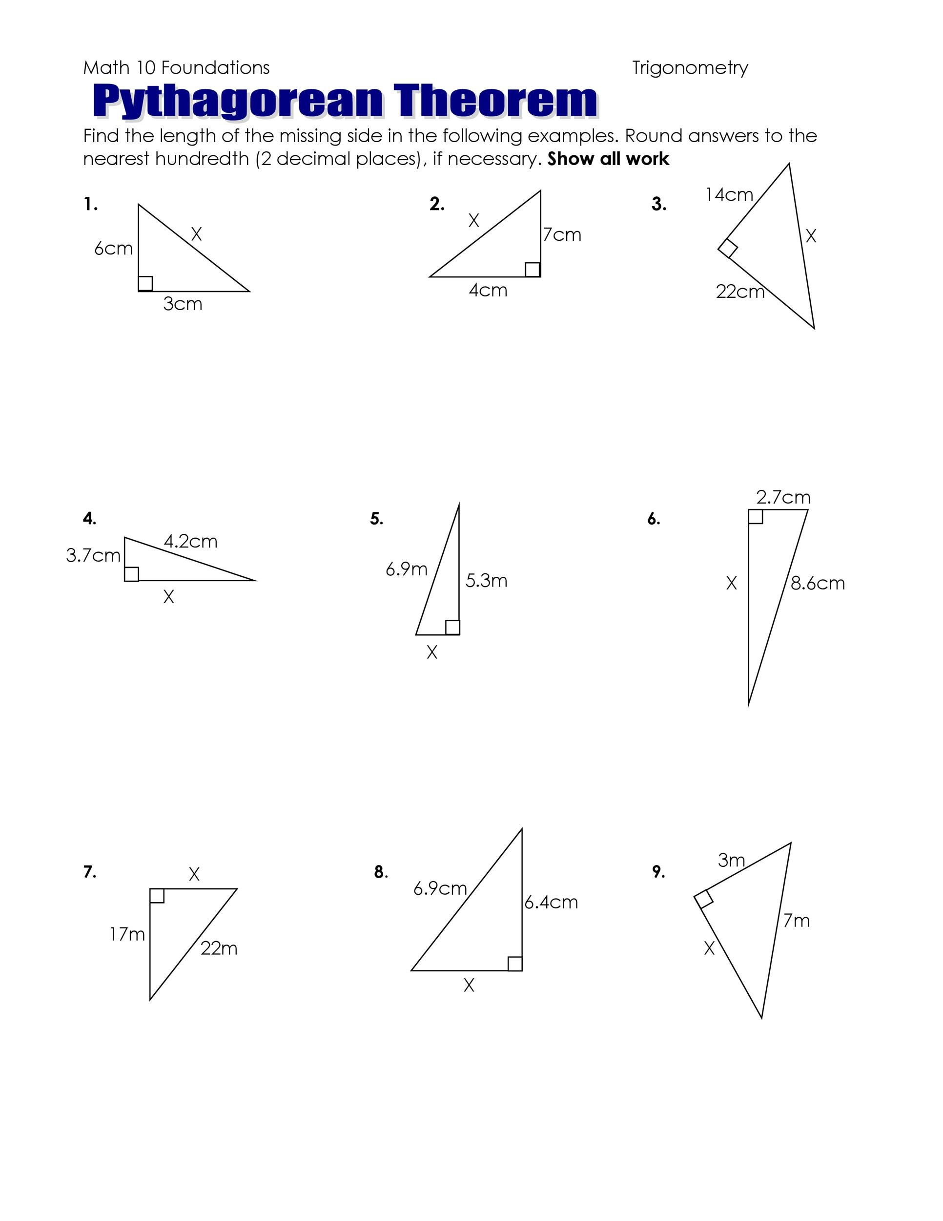 30 Pythagorean Theorem Practice Worksheet