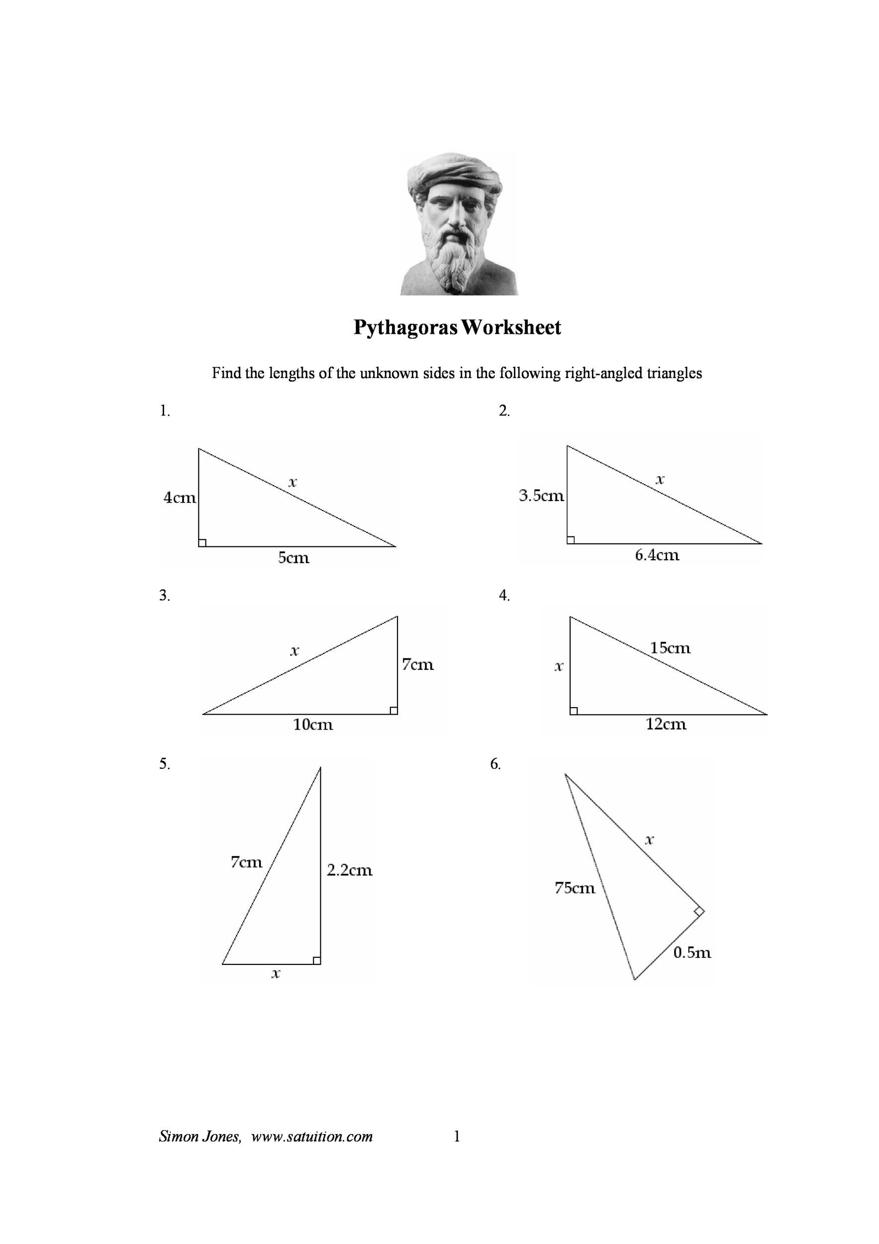Pythagorean Theorem Worksheet With Answers