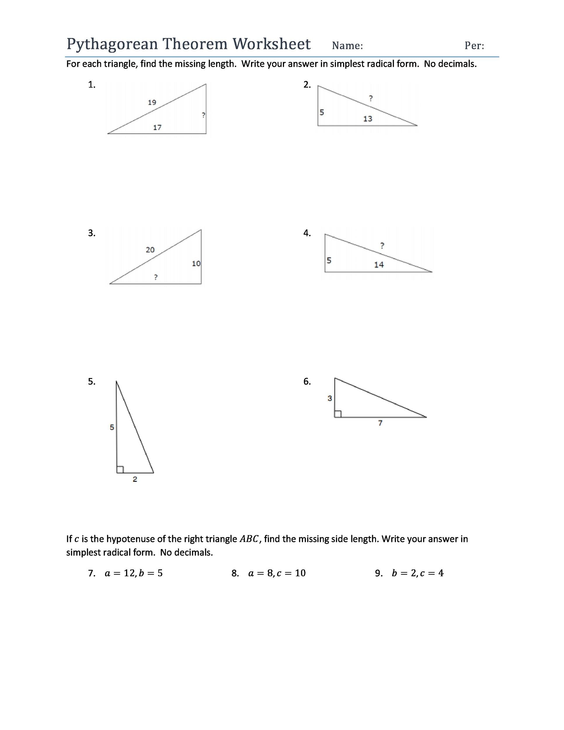 34 Pythagorean Theorem Worksheet With Answers