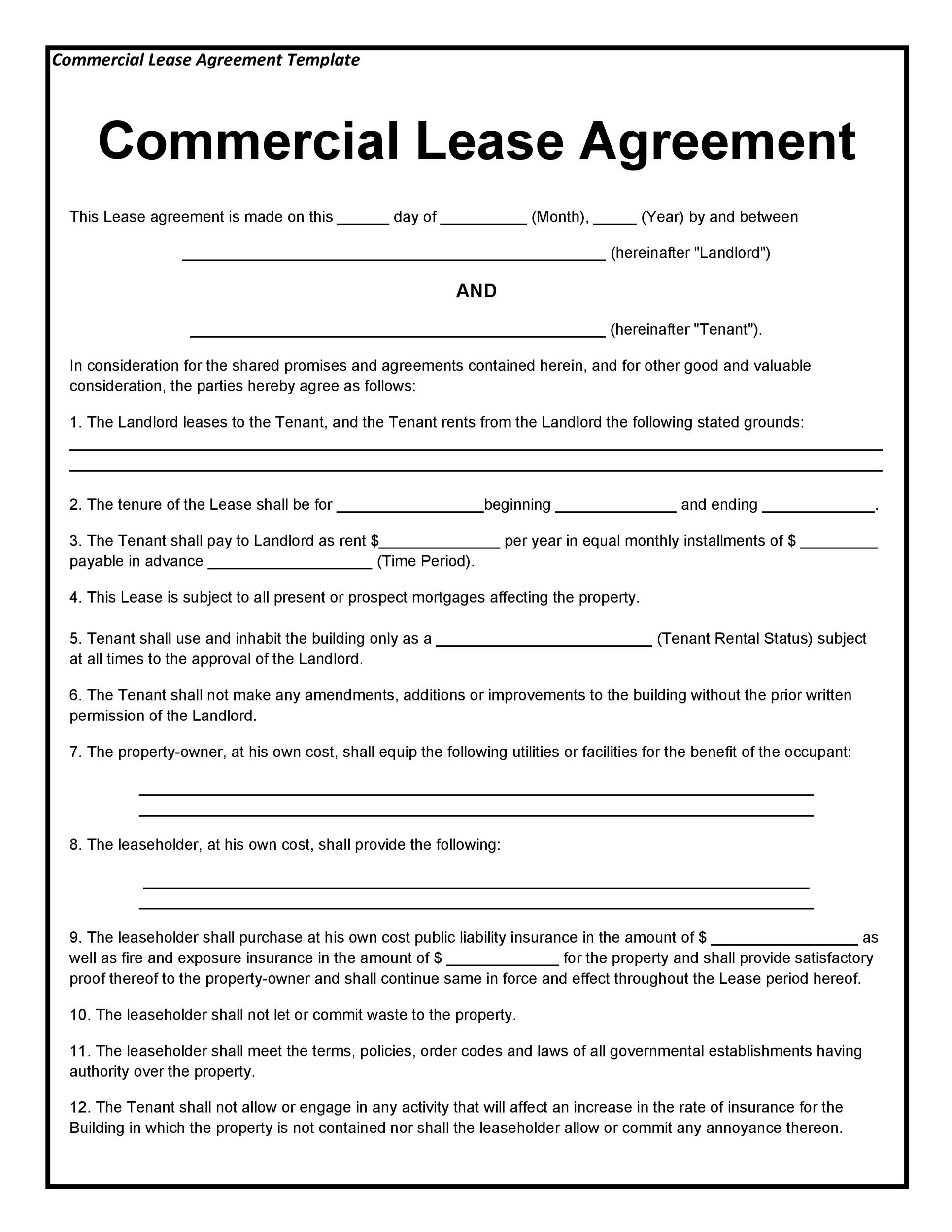 Use residential rental lease agreement in california to showcase the conditions between a landlord and a tenant leasing a commercial or residential. 26 Free Commercial Lease Agreement Templates Á… Templatelab