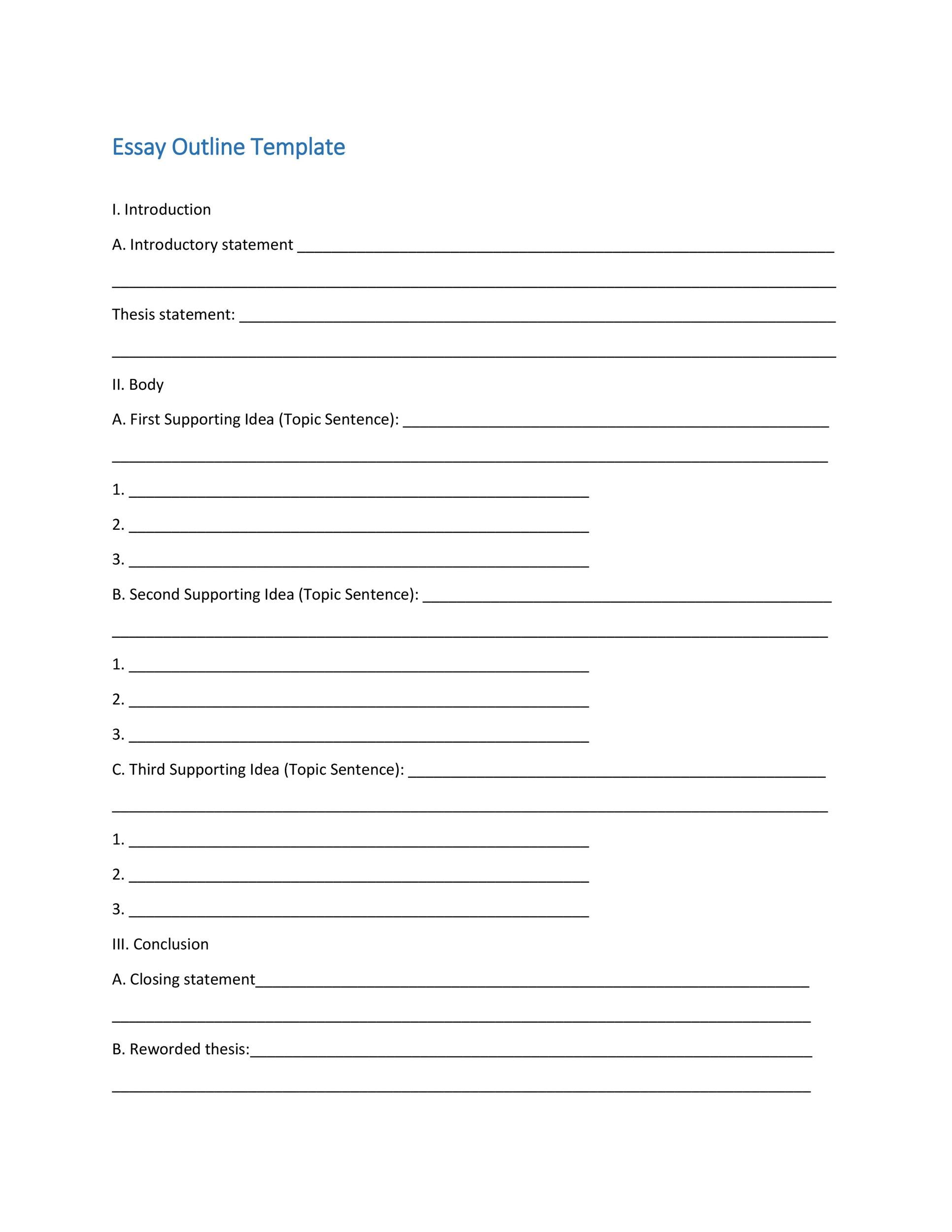 Blank Essay Outline Format