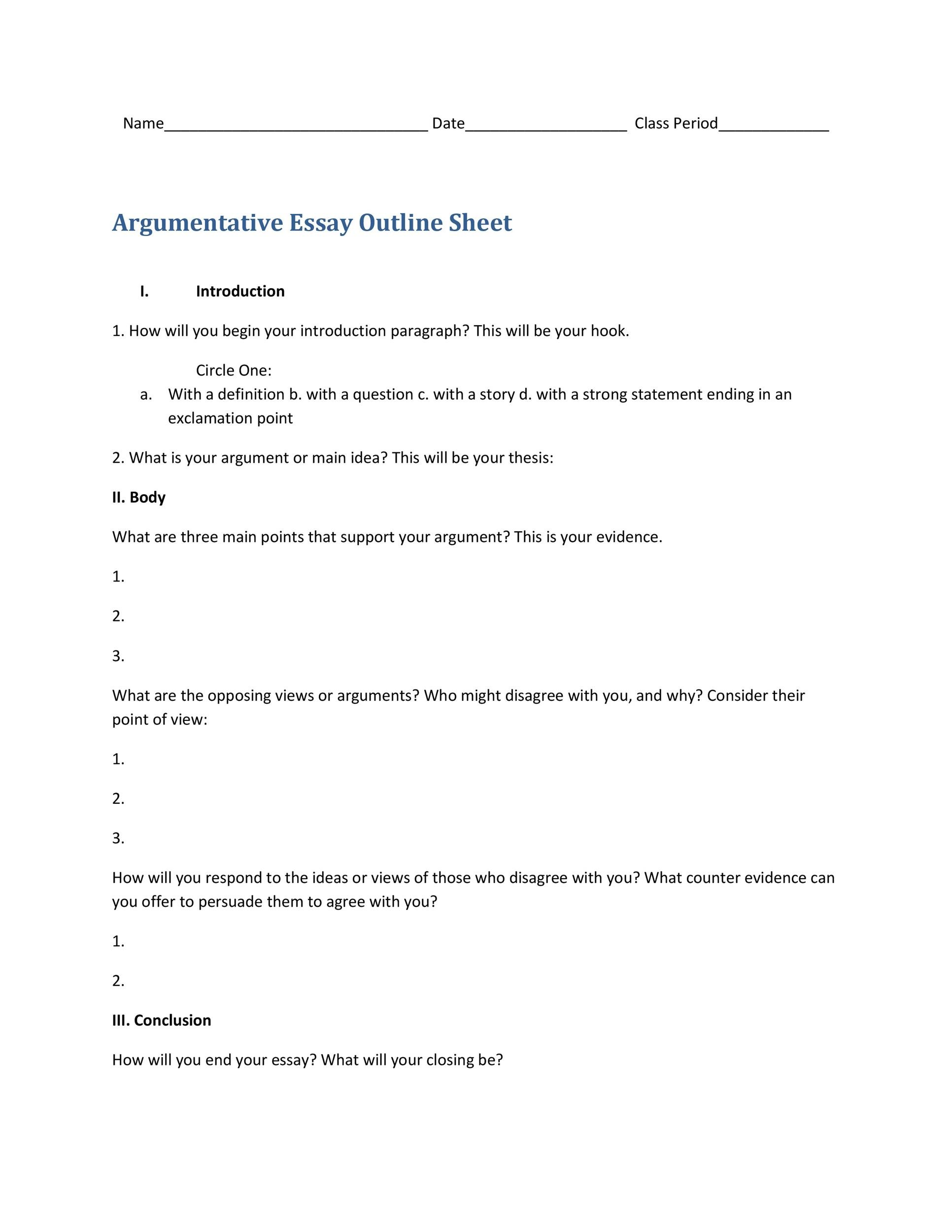 Hook Template For Essay