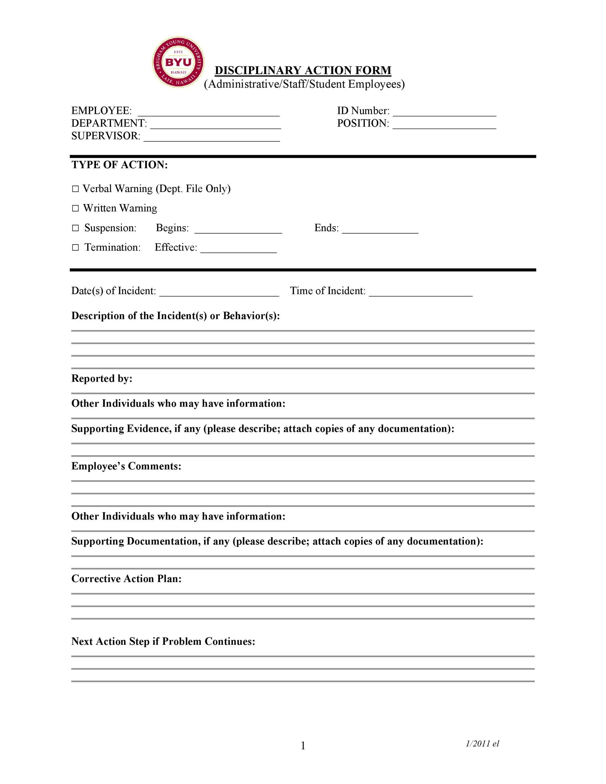 write up template for employees