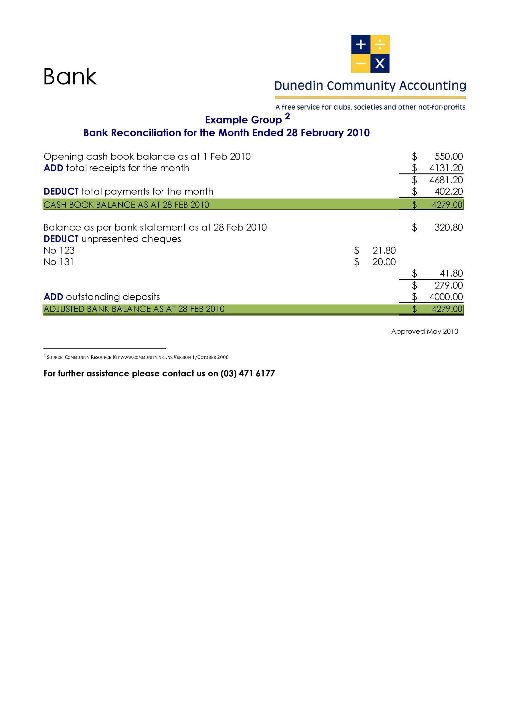50 Bank Reconciliation Examples Amp Templates 100 Free