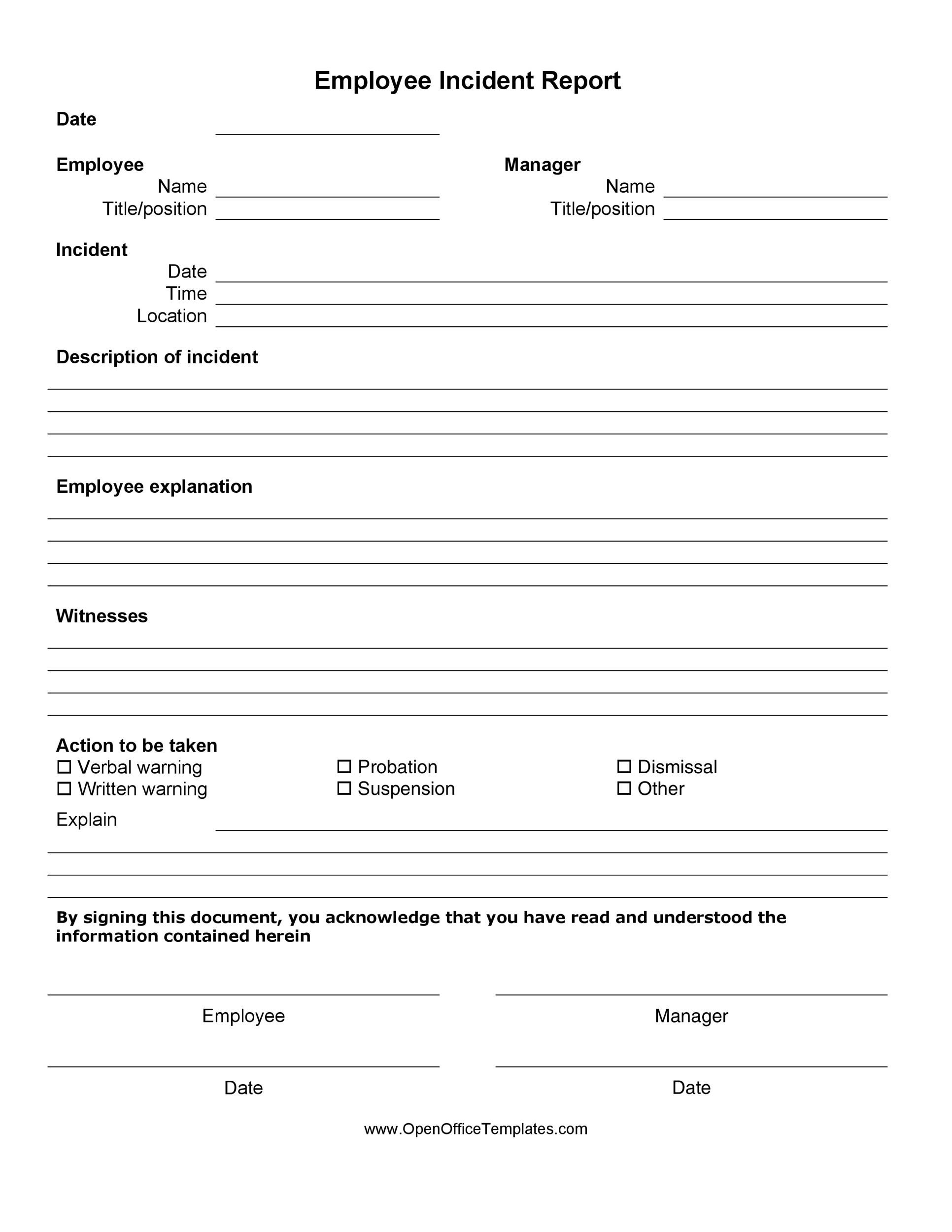 Make the most of this checklist by following the points below: 60 Incident Report Template Employee Police Generic Á… Templatelab