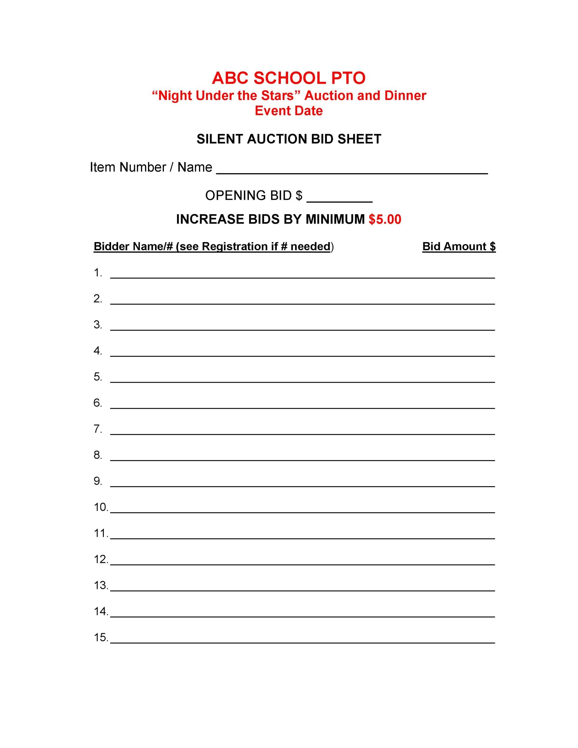 40 Silent Auction Bid Sheet Templates Word Excel