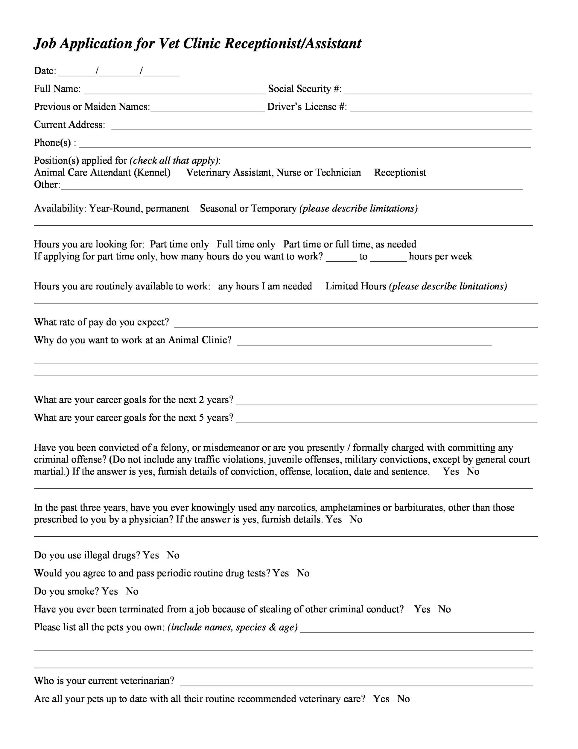 Have job applicants type their information online into this application form template. 50 Free Employment Job Application Form Templates Printable Á… Templatelab