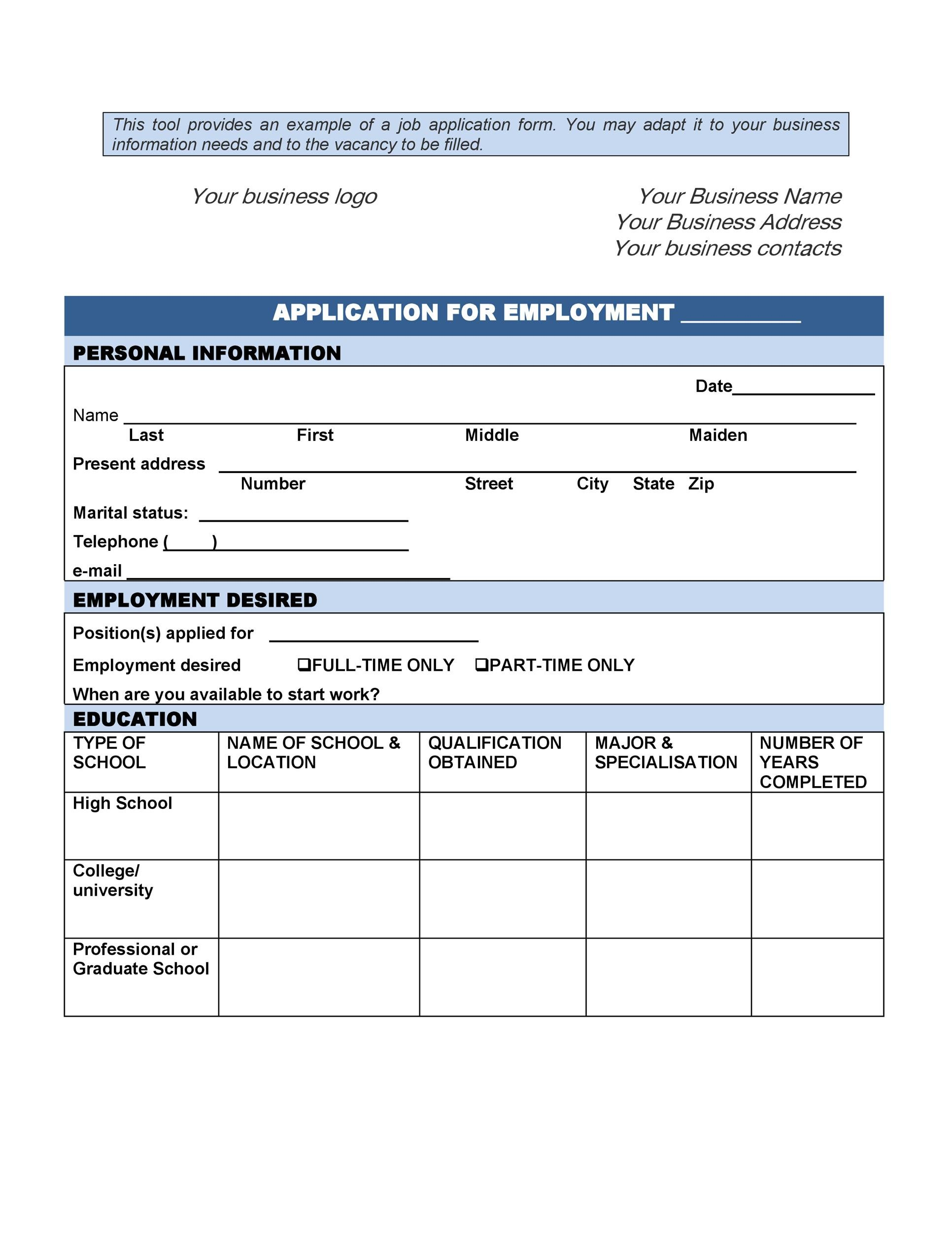 The application must be fully completed to be considered. 50 Free Employment Job Application Form Templates Printable Á… Templatelab