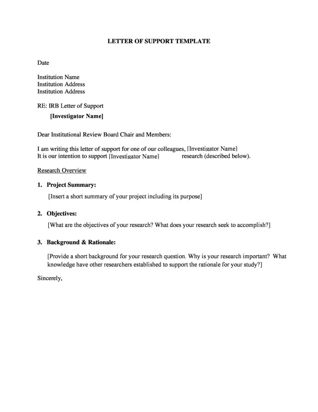 Letter Of Support Templates Financial