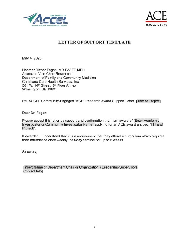 15+ Proven Letter of Support Templates [Financial, for Grant]