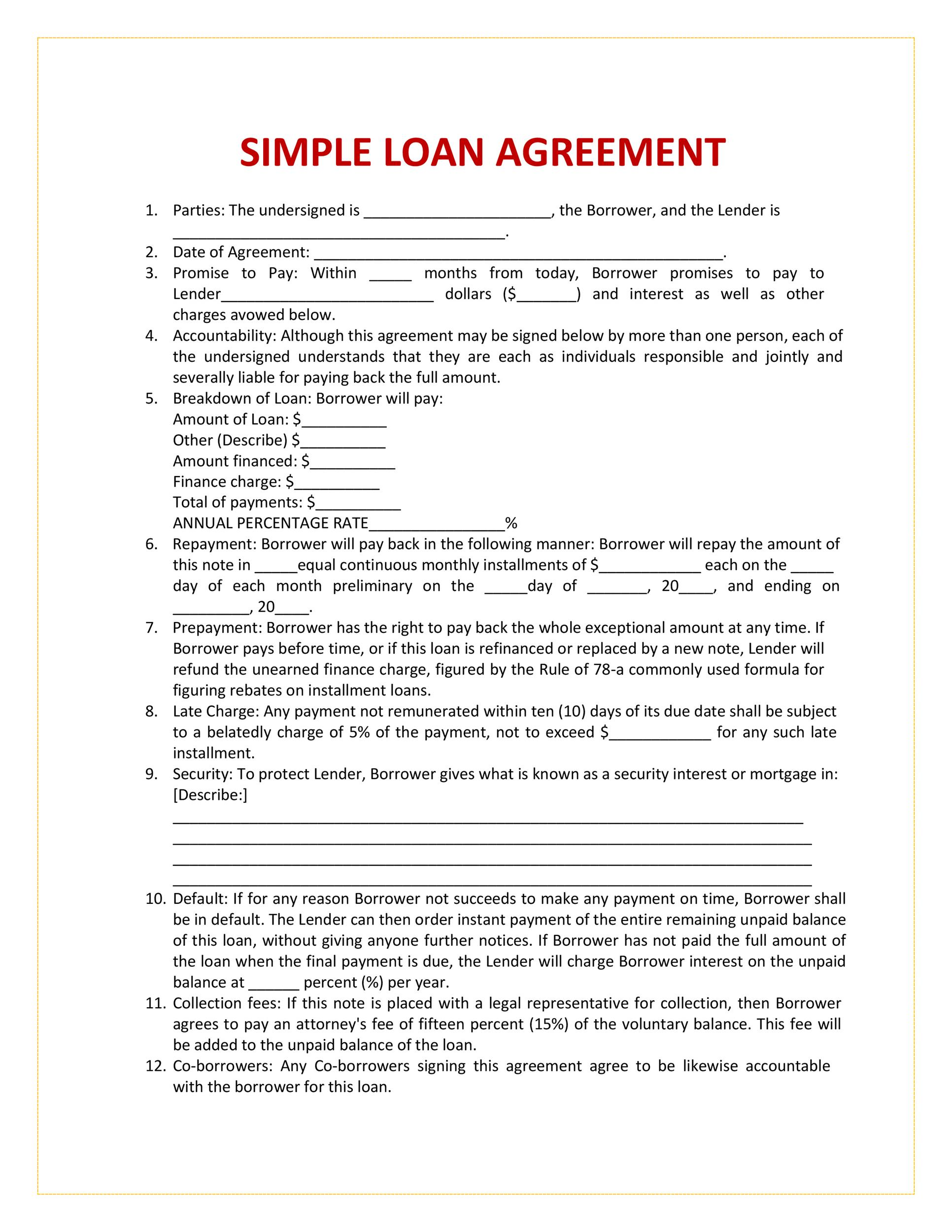 Private loans between family members and friends are a convenient, flexible and. 40 Free Loan Agreement Templates Word Pdf Á… Templatelab