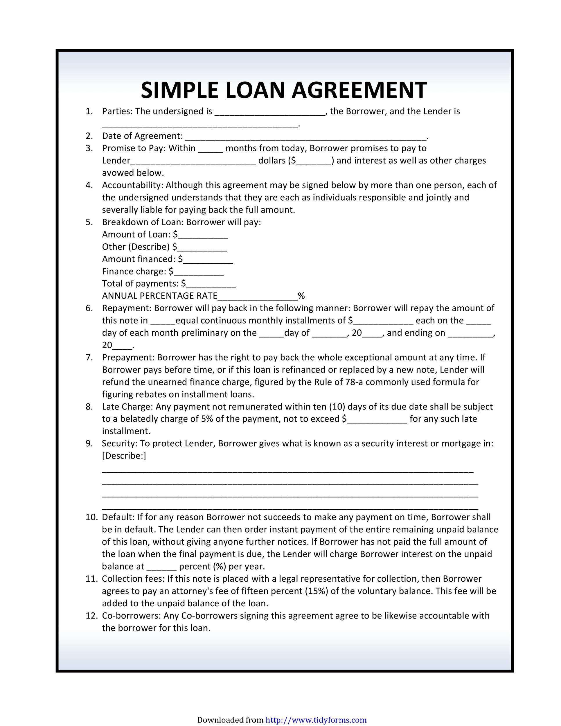 Sarah brown (borrower) tammy smith (lender) original loan date: 40 Free Loan Agreement Templates Word Pdf Á… Templatelab
