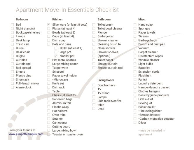 First New Apartment Checklist 40