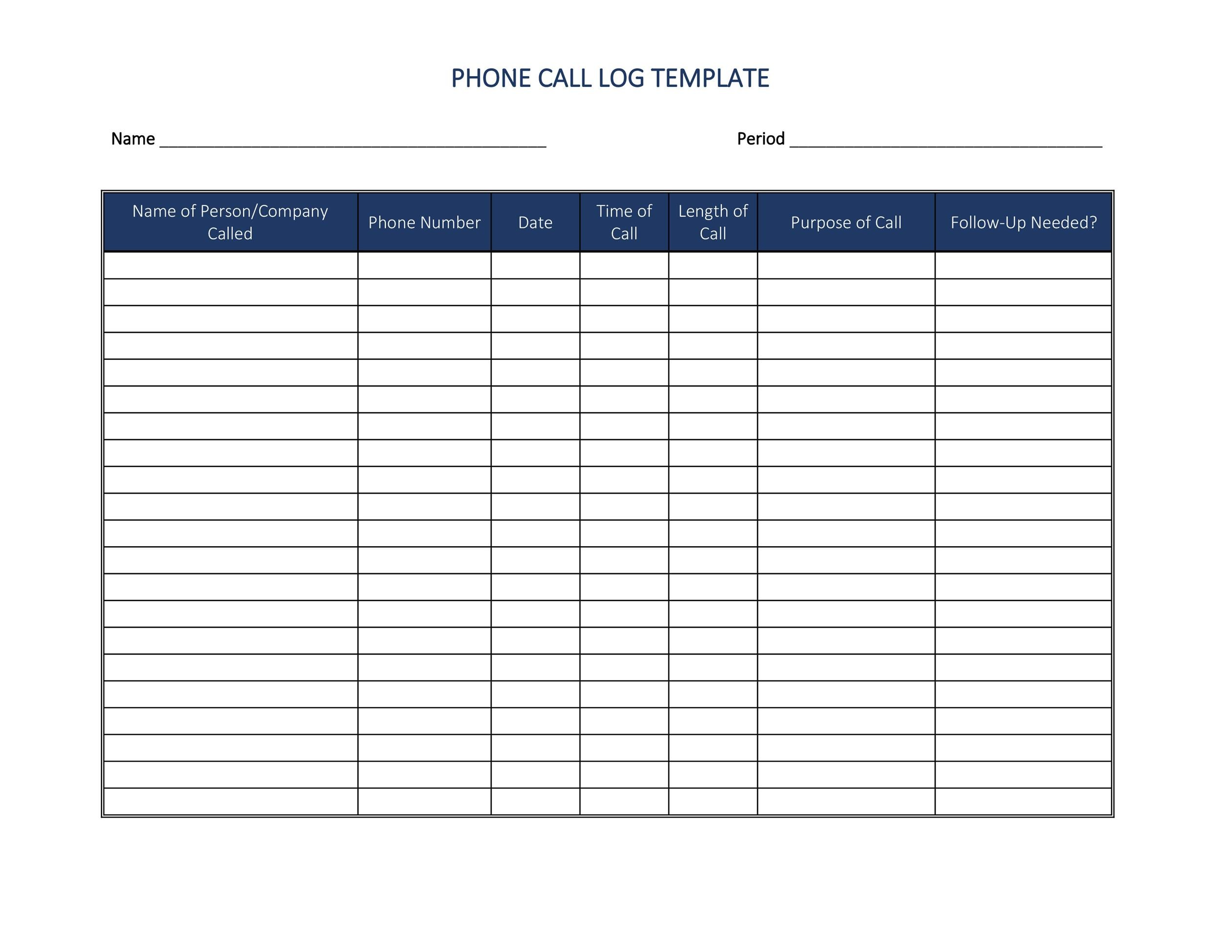 Free Download Microsoft Templates Telephone Log Programs