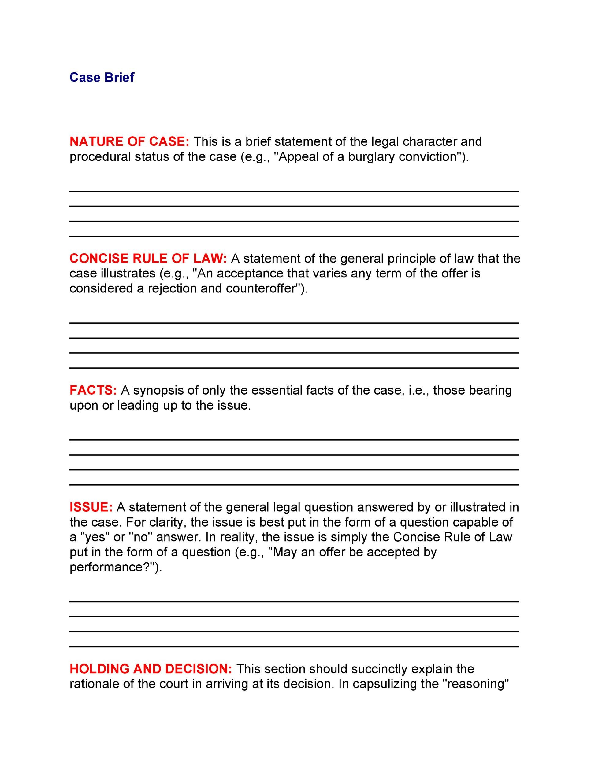 40 Case Brief Examples Amp Templates Templatelab