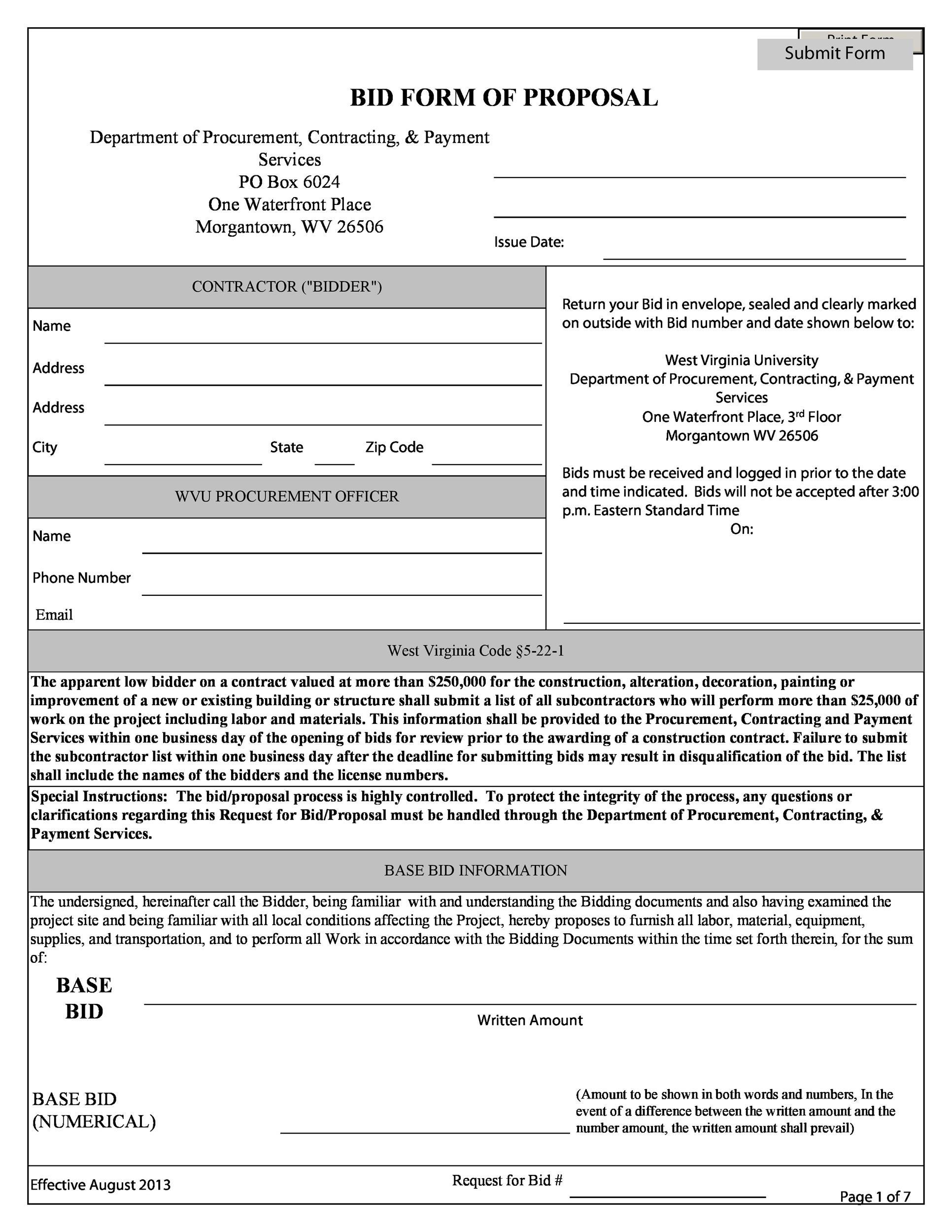31 Construction Proposal Template Amp Construction Bid Forms
