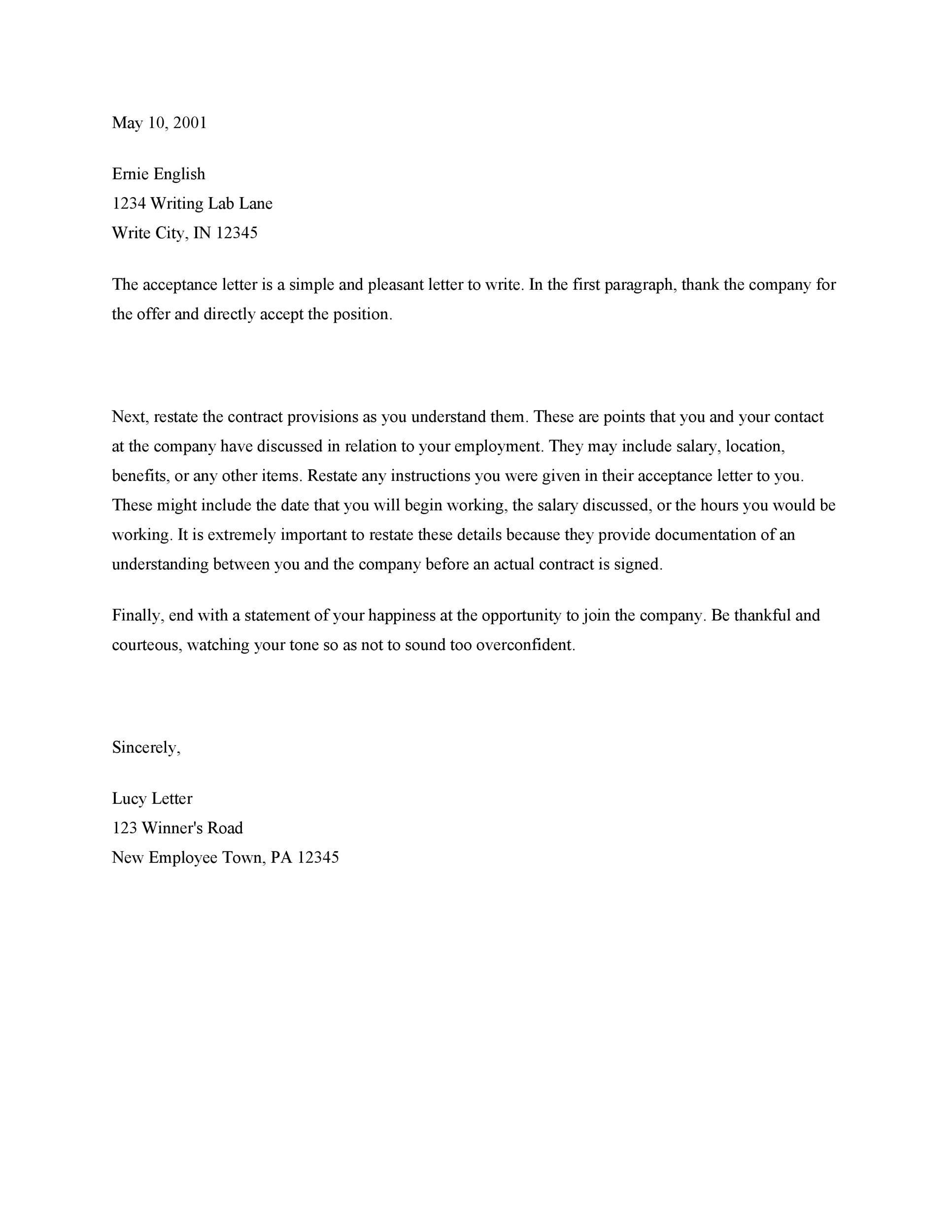 Template Of Job Acceptance Letter lvcrelegantcom