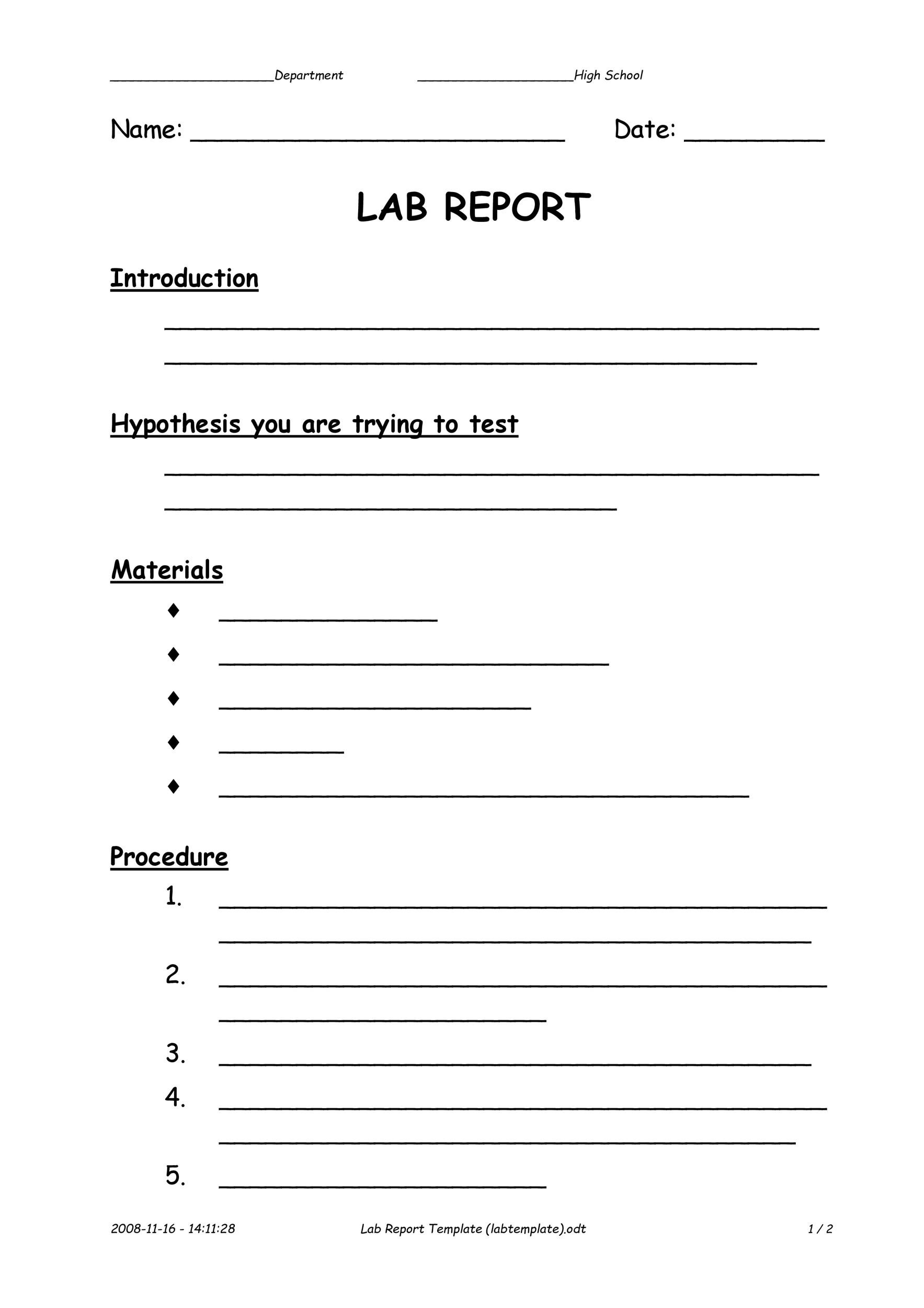 40 Lab Report Templates Amp Format Examples