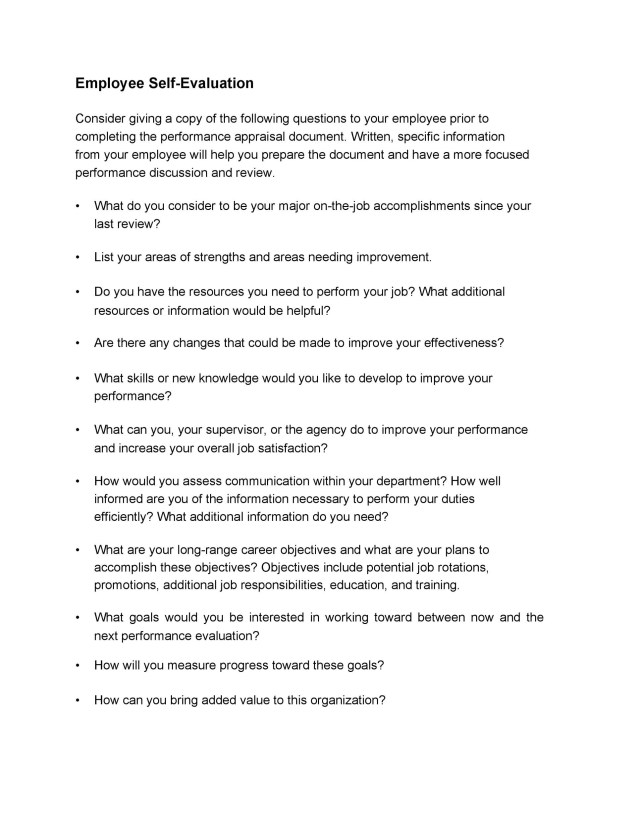 16+ Self Evaluation Examples, Forms & Questions ᐅ TemplateLab