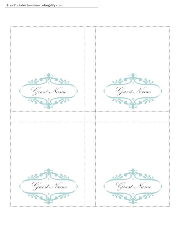 Free table tent template for Double sided place card template