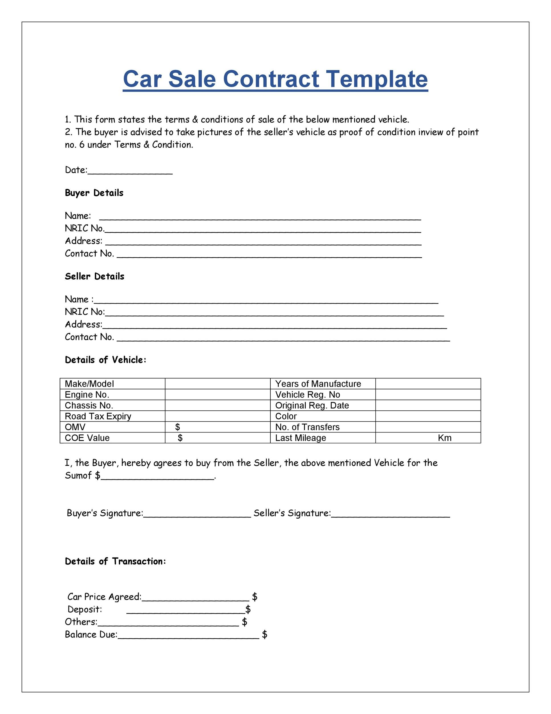 42 Printable Vehicle Purchase Agreement Templates