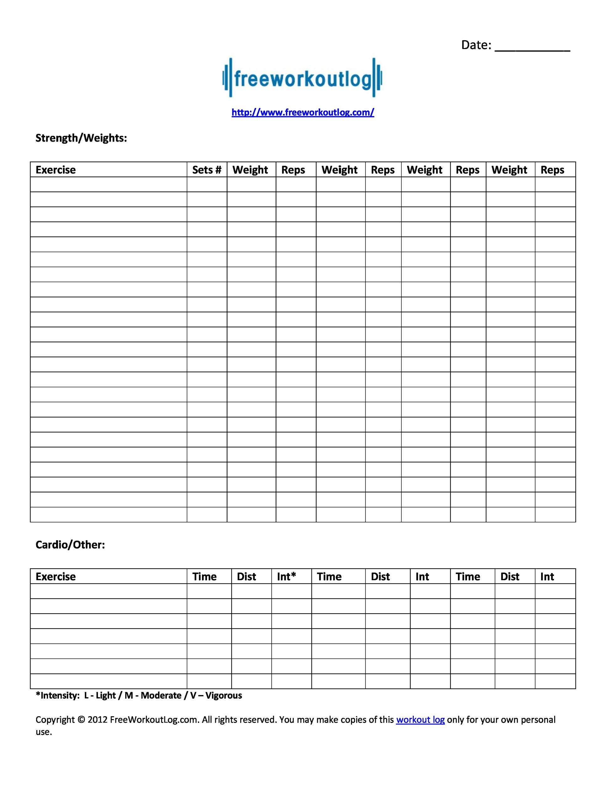 40 Effective Workout Log Amp Calendar Templates Templatelab