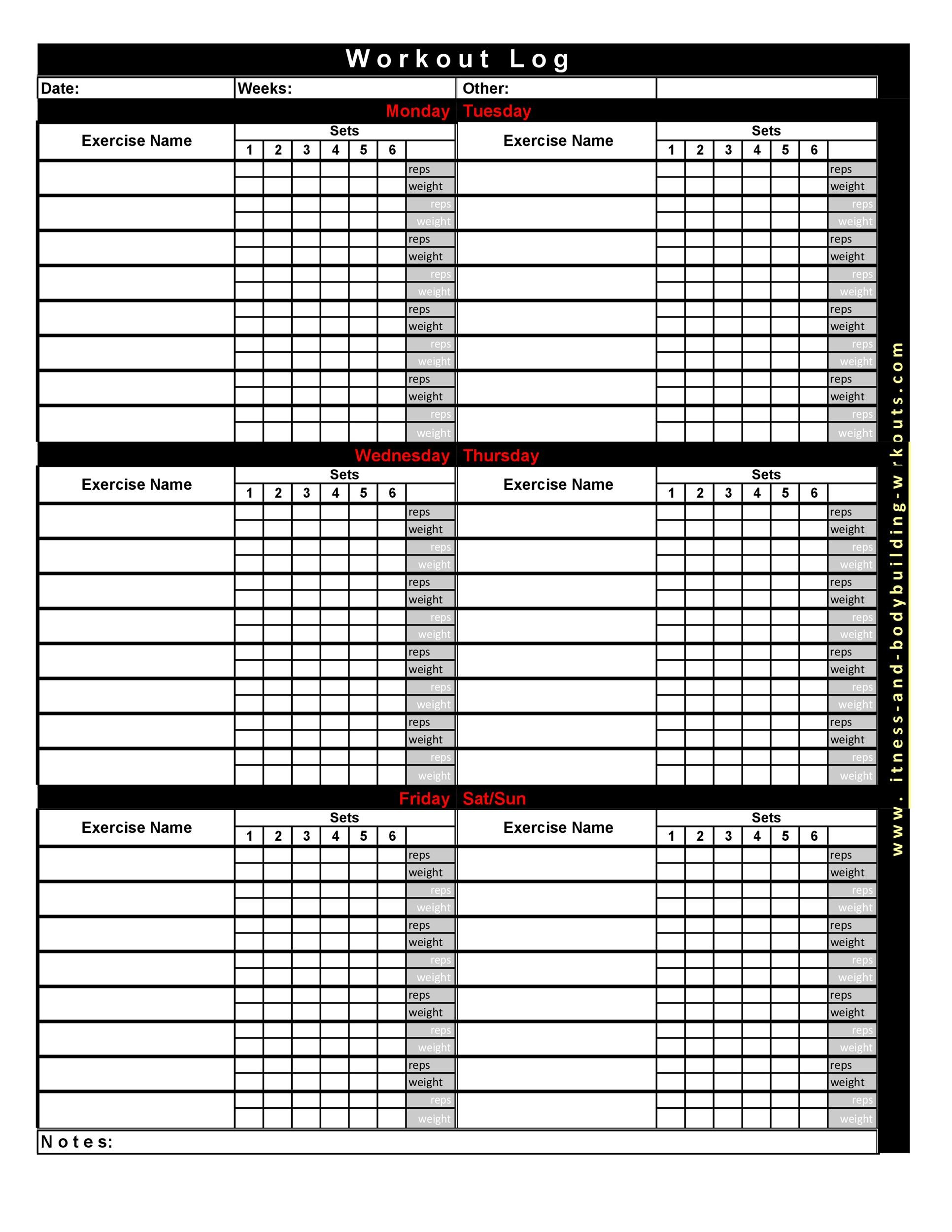 29 Printable Workout Sheet Printable Download Xls
