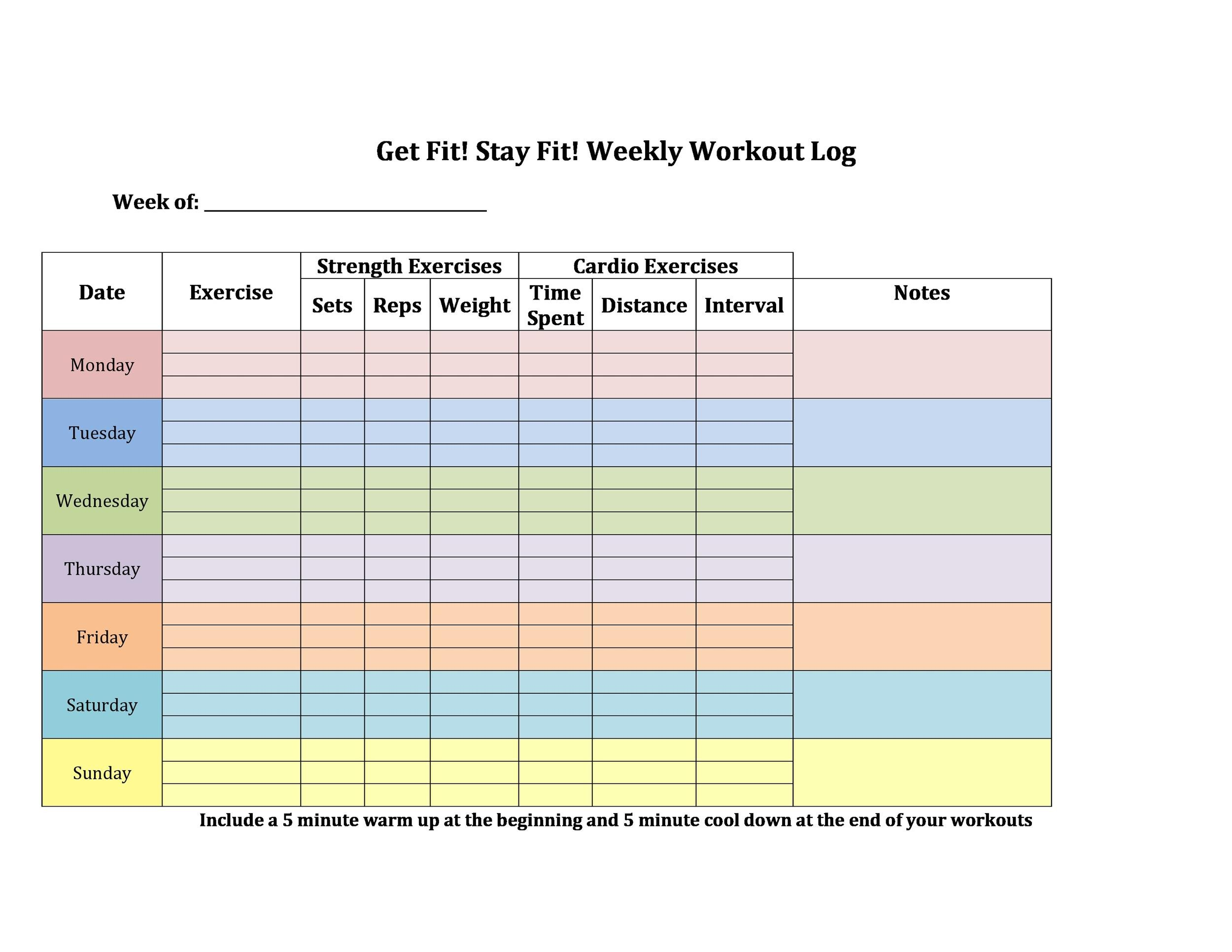 40 Effective Workout Log Amp Calendar Templates