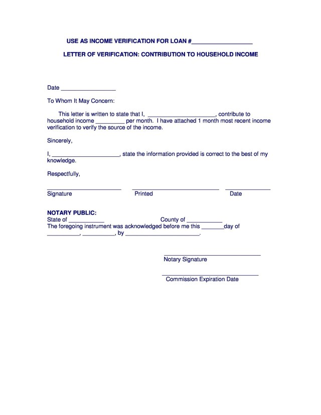 40 Income Verification Letter Samples