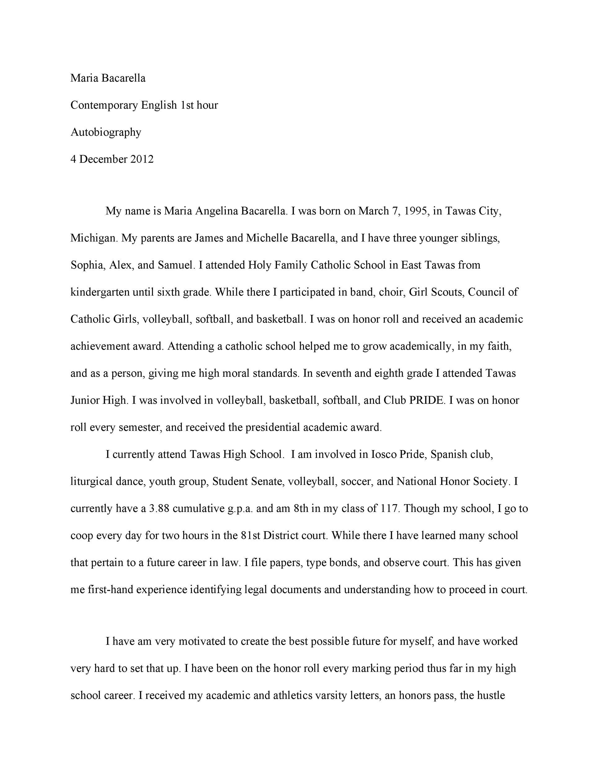 Autobiography Example Essay Ixujezyso