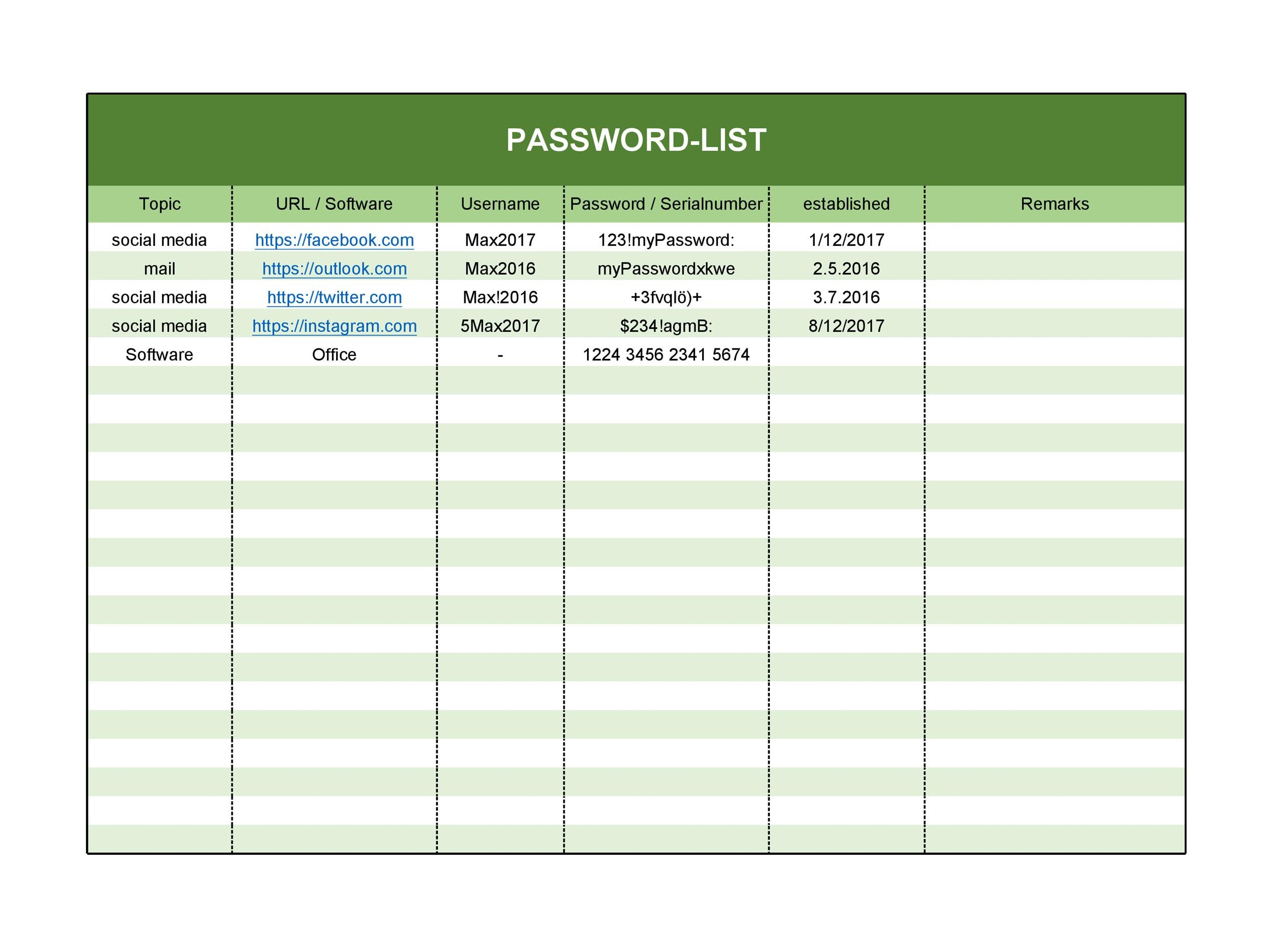 33 Best Password List Templates Word Excel Amp