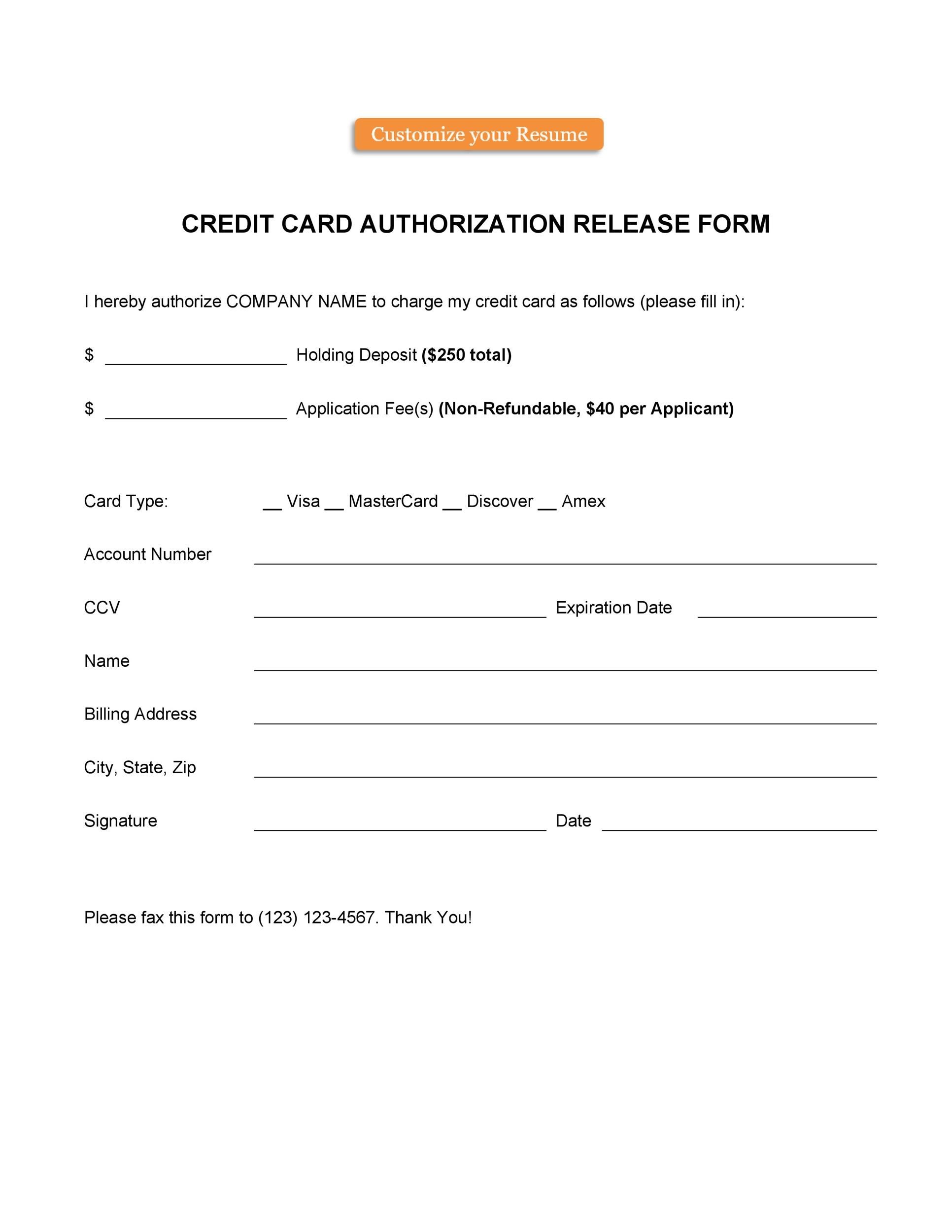 41 Credit Card Authorization Forms Templates Ready To Use