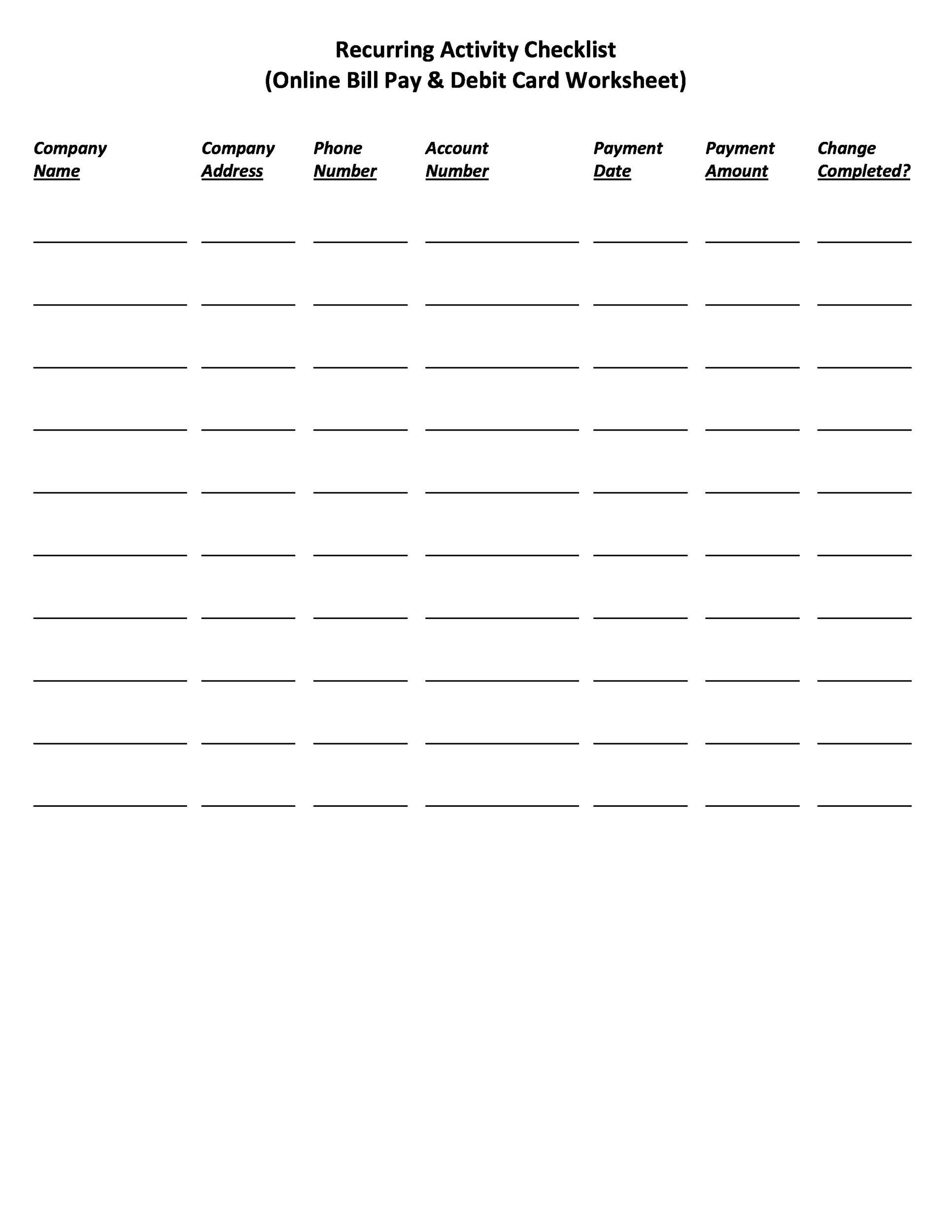 32 Free Bill Pay Checklists Amp Bill Calendars Word