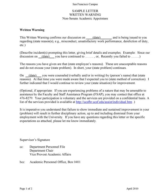 49 Professional Warning Letters Free