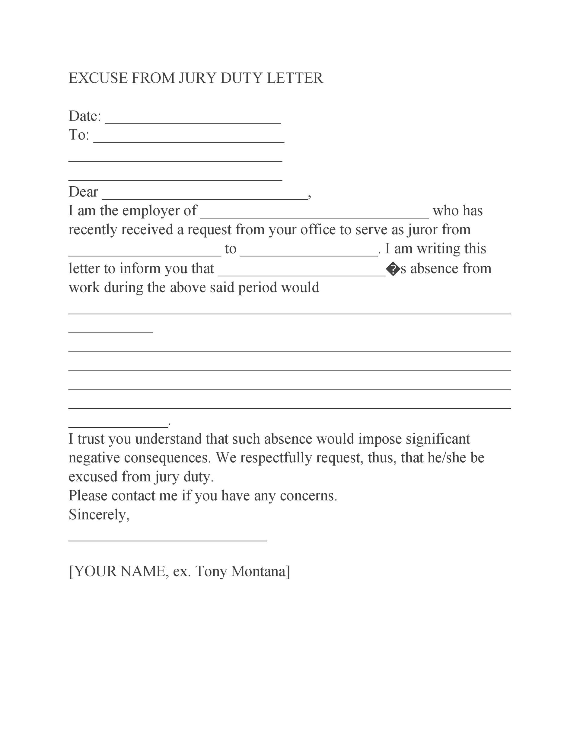 33 Best Jury Duty Excuse Letters Tips Templatelab