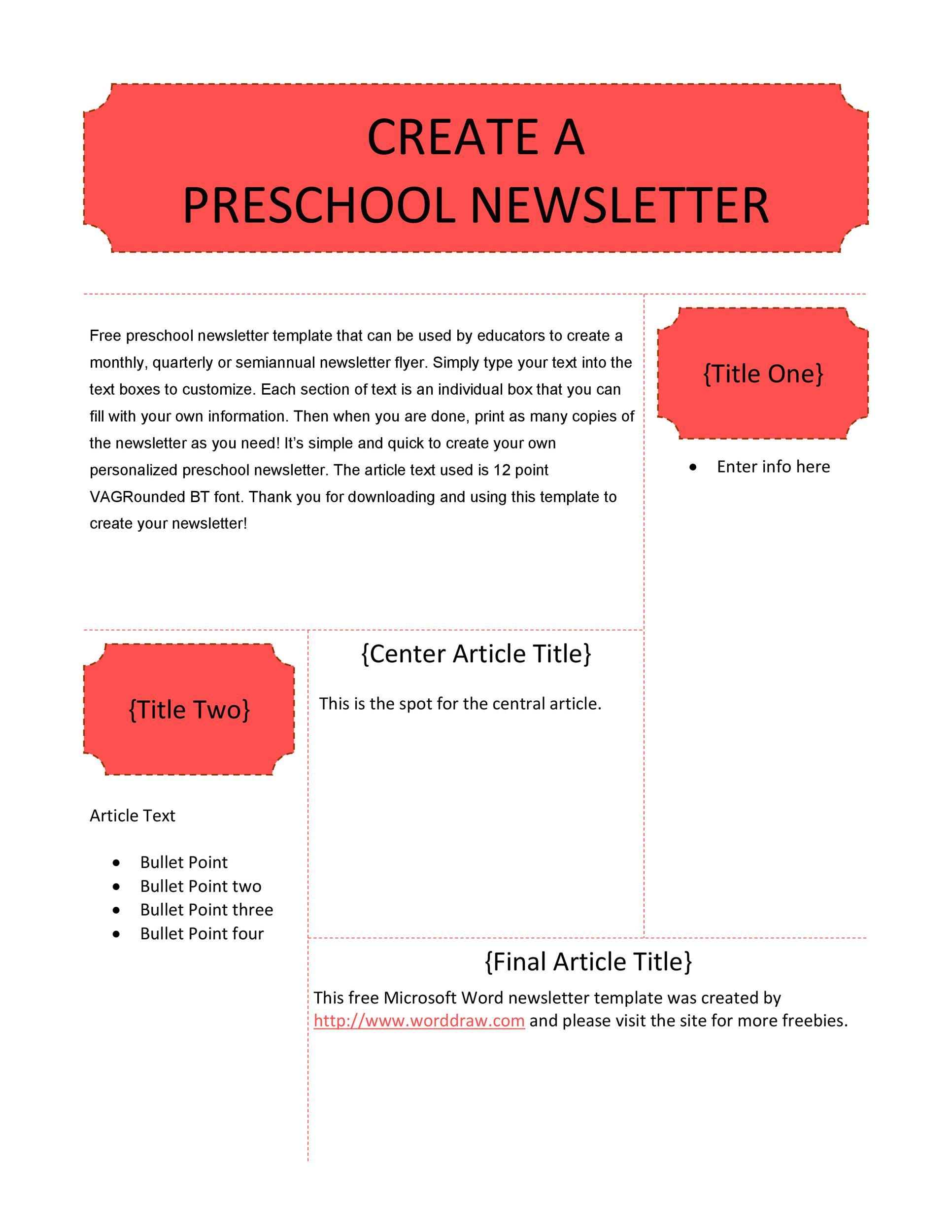 50 Creative Preschool Newsletter Templates Tips