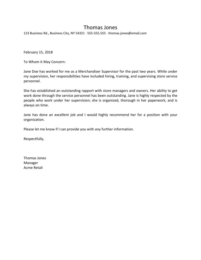 Recommendation Letters For Employee