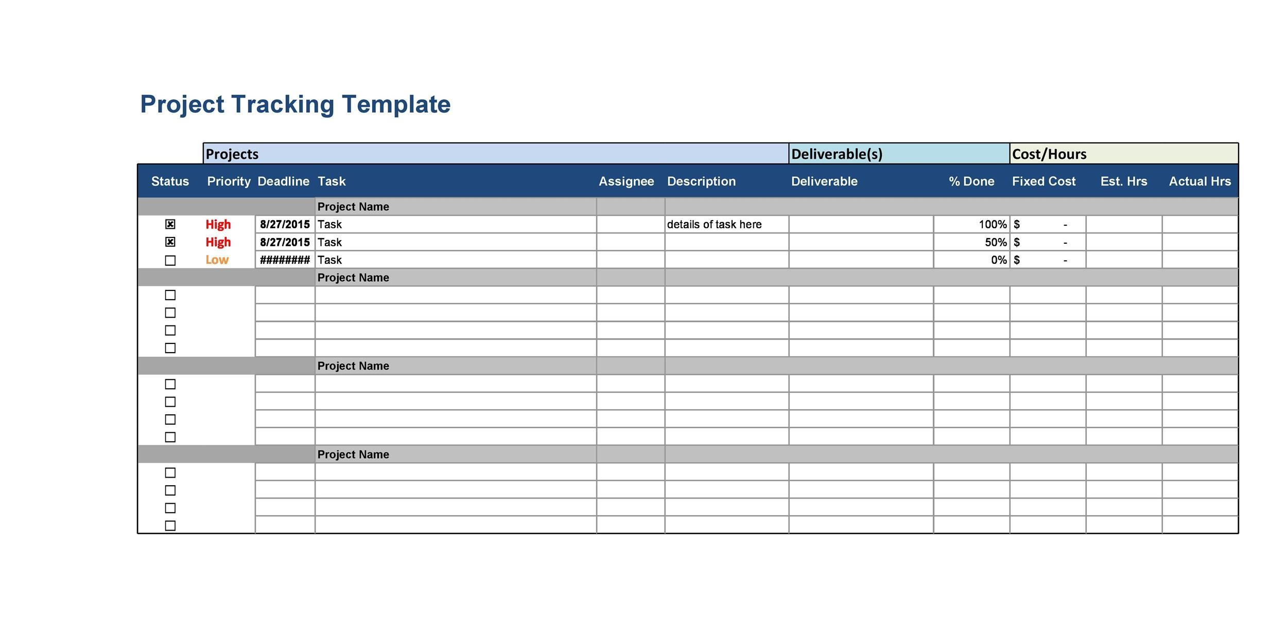 50 Free Multiple Project Tracking Templates Excel Amp Word