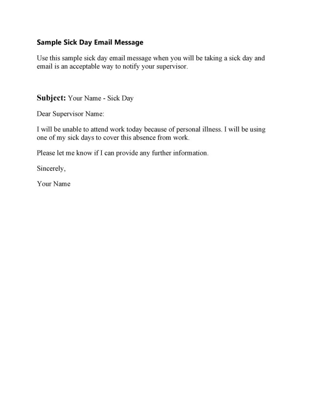 5 Professional Sick Leave Email Templates ᐅ TemplateLab