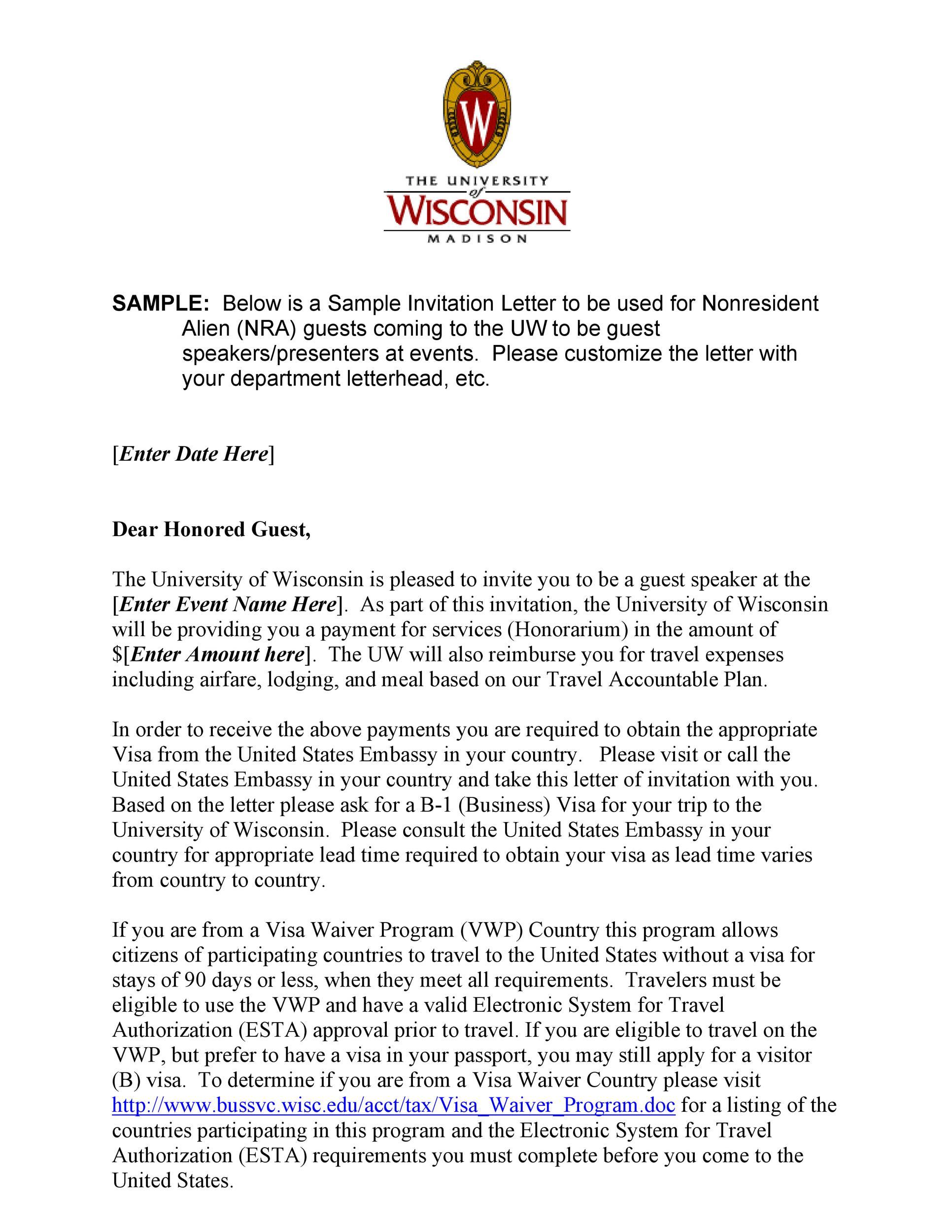 50 best invitation letters for visa
