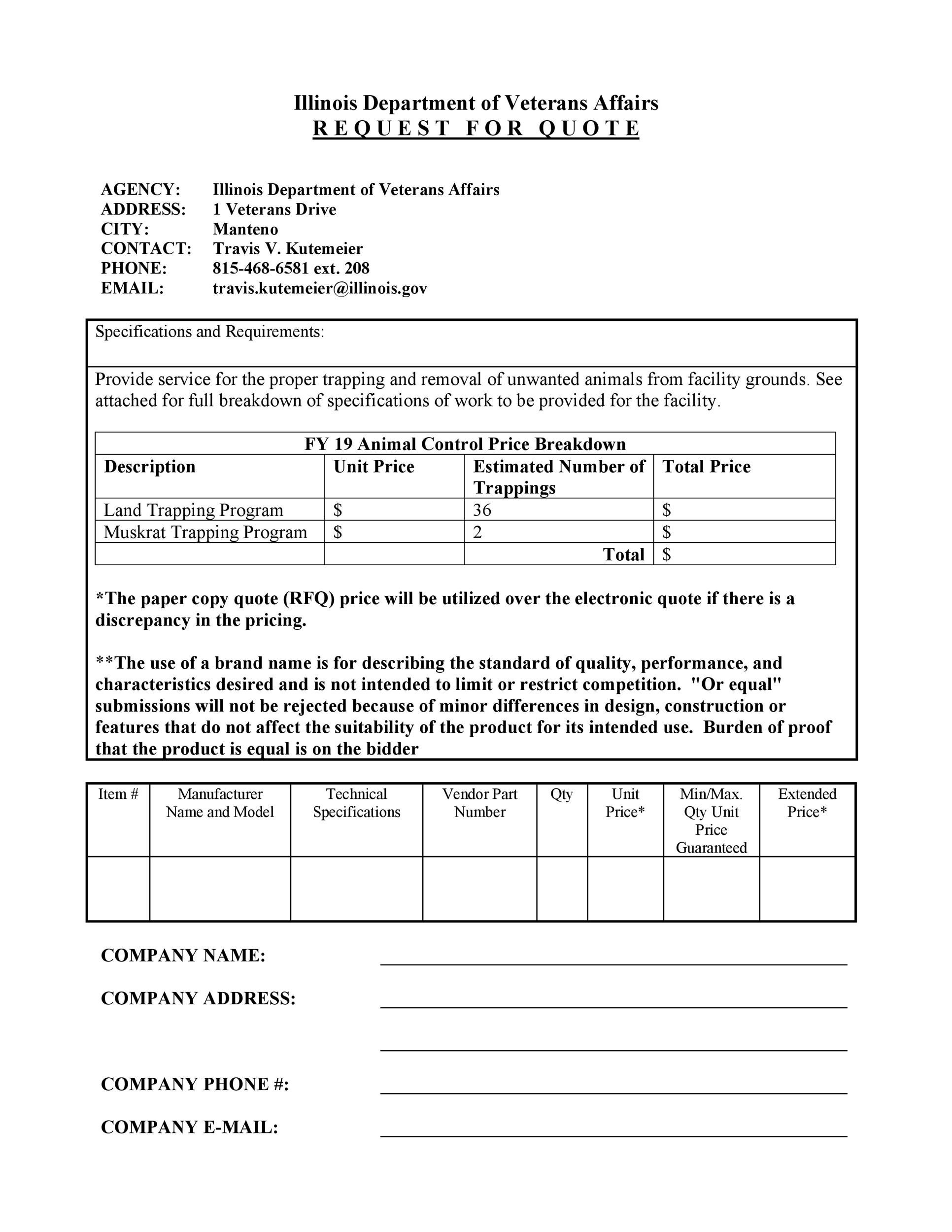 50 Simple Request For Quote Templates Amp Forms Templatelab
