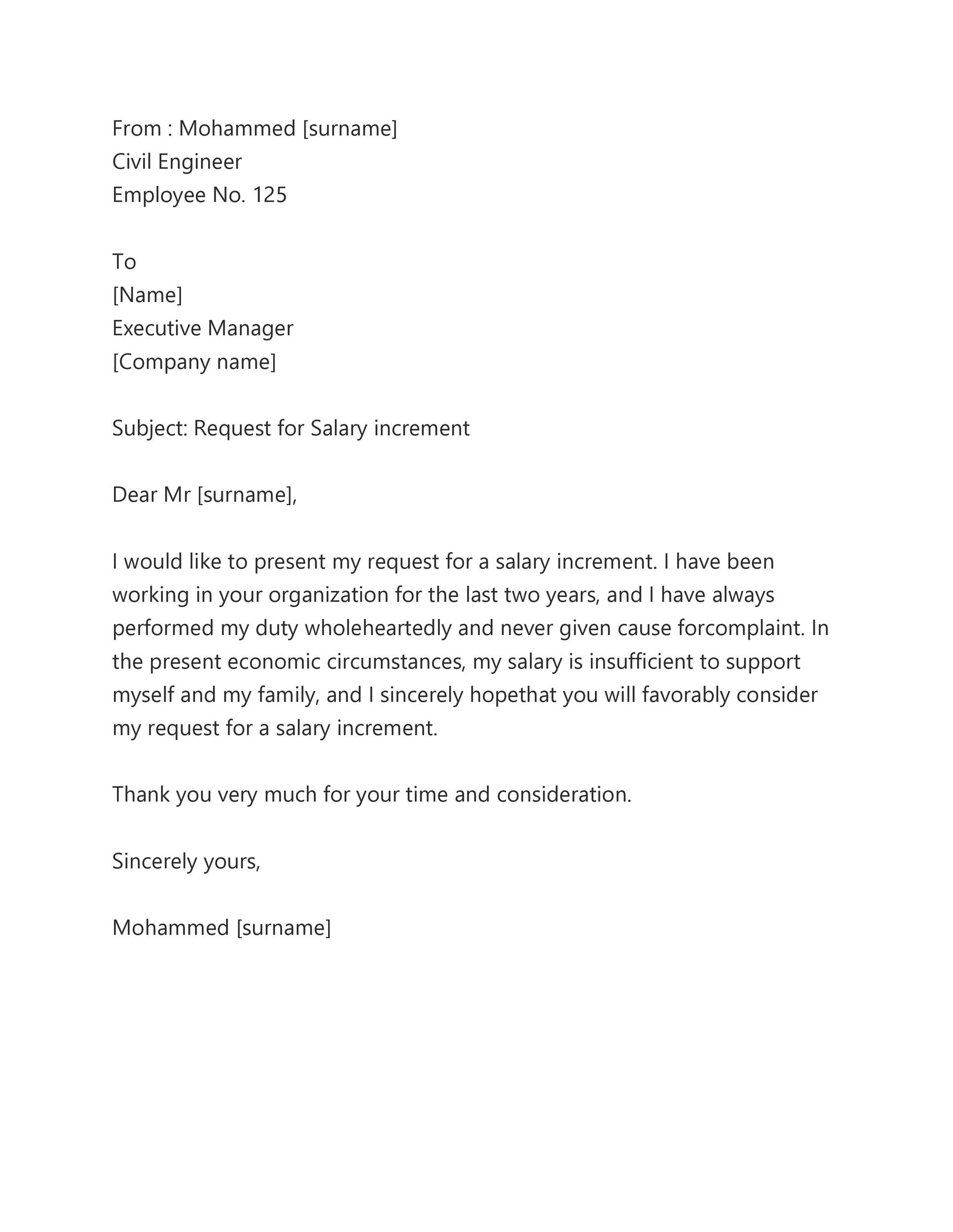 Salary Increment Letter To Employee From The Employer : Salary