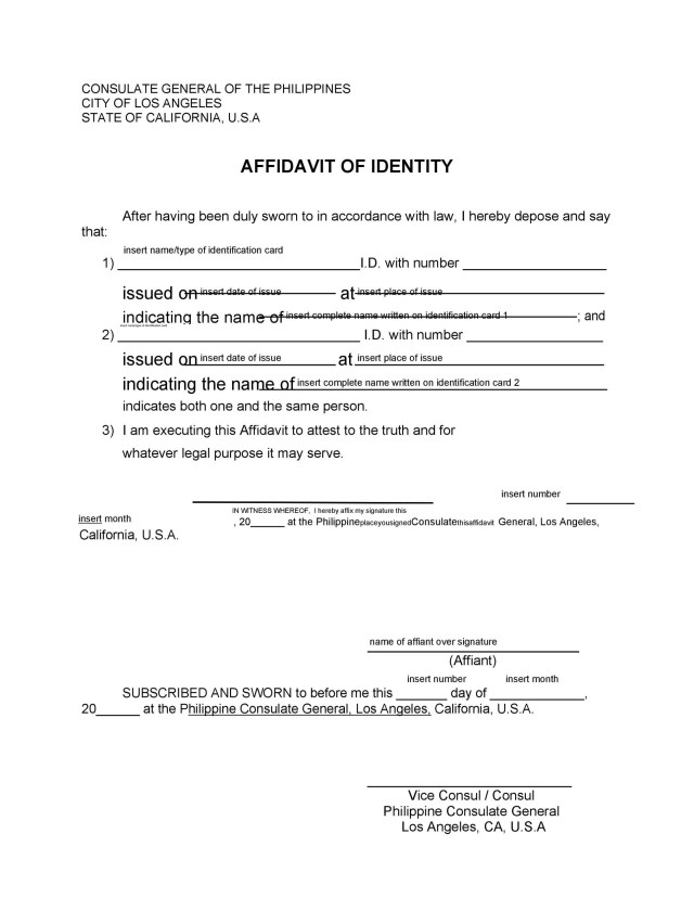 28 Free Affidavit of Identity Forms (MS Word) ᐅ TemplateLab