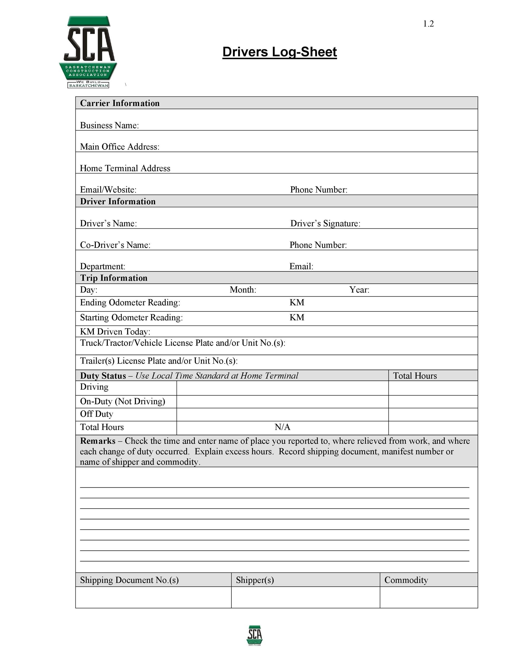 50 Printable Log Sheet Templates Direct Download Template Lab